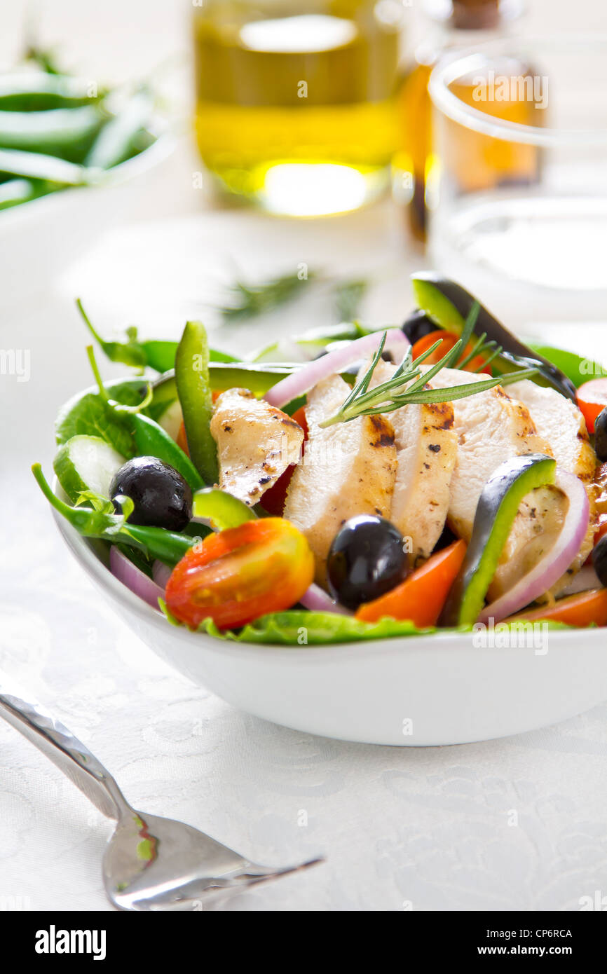 Grilled chicken salad - Stock Image