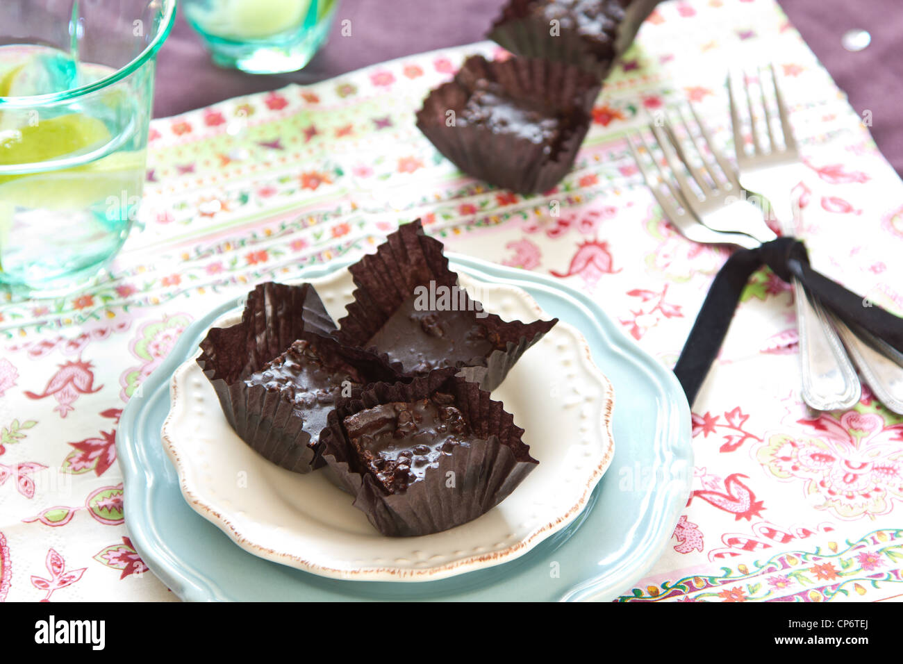 Mini Brownies, - Stock Image
