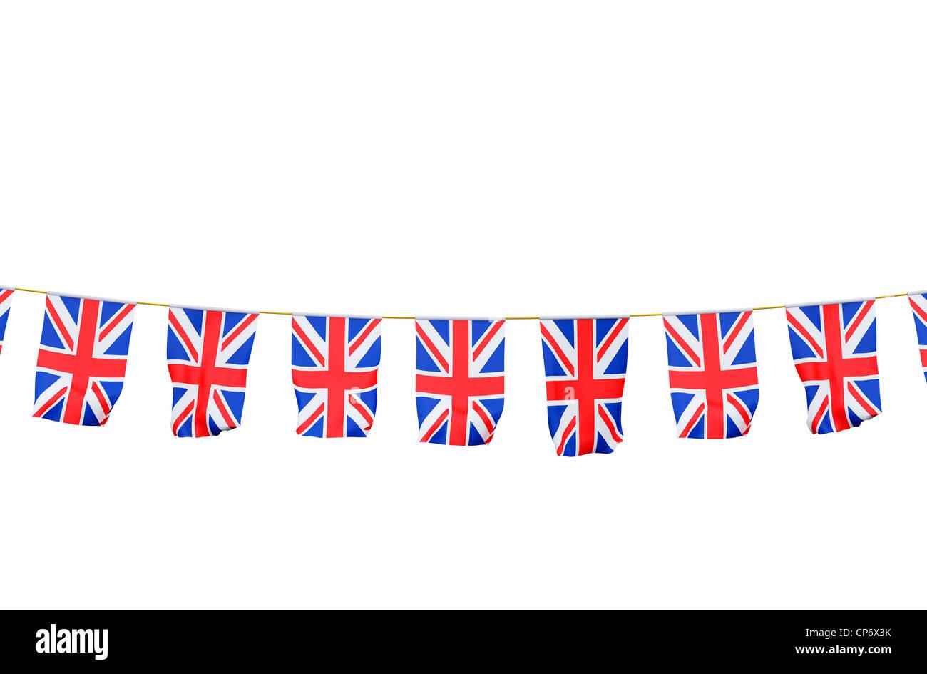 Bunting with Union Jack flag on white background - Stock Image