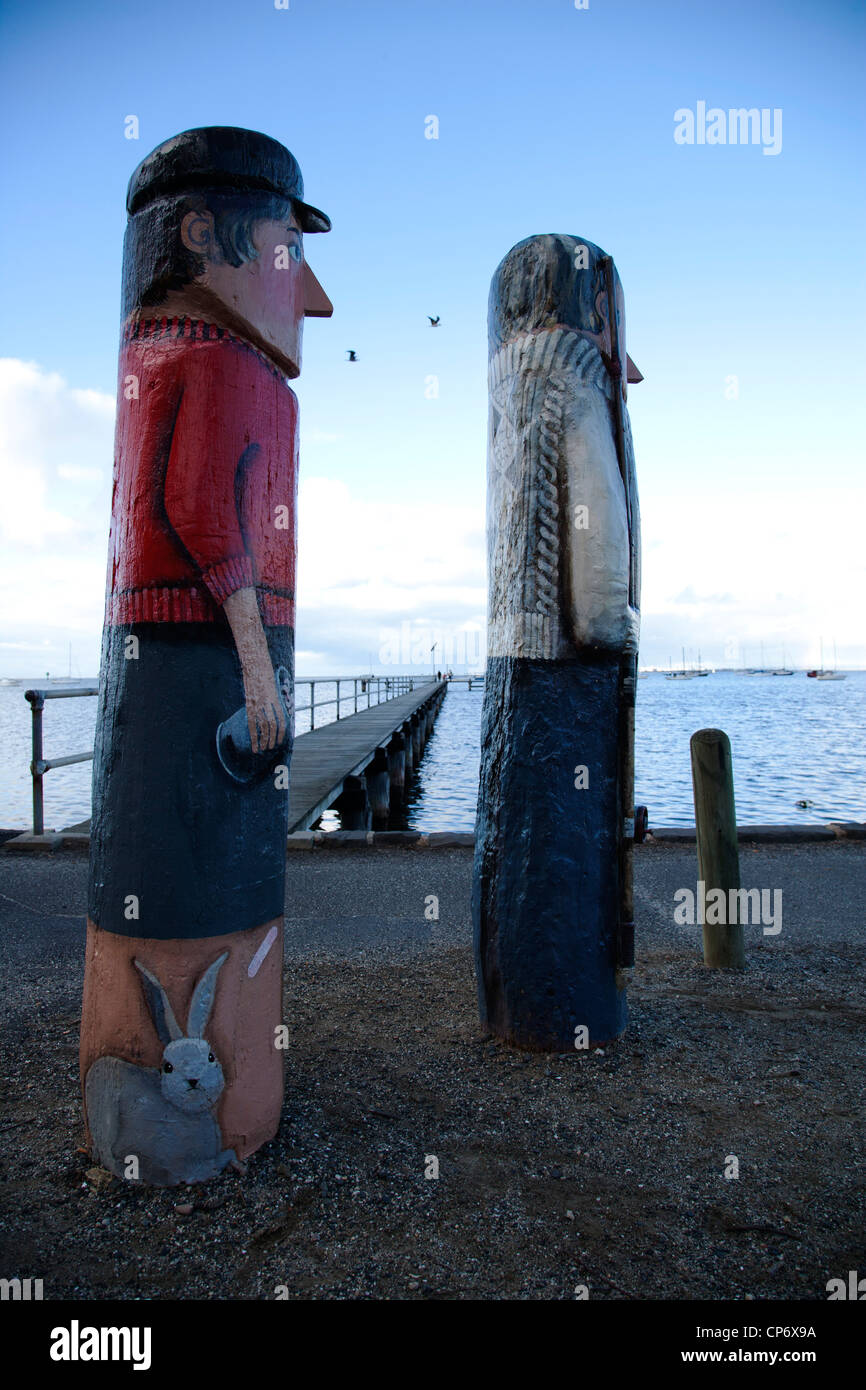 2 painted statue by the sea with blue sky in background at Geelong Victoria Australia - Stock Image