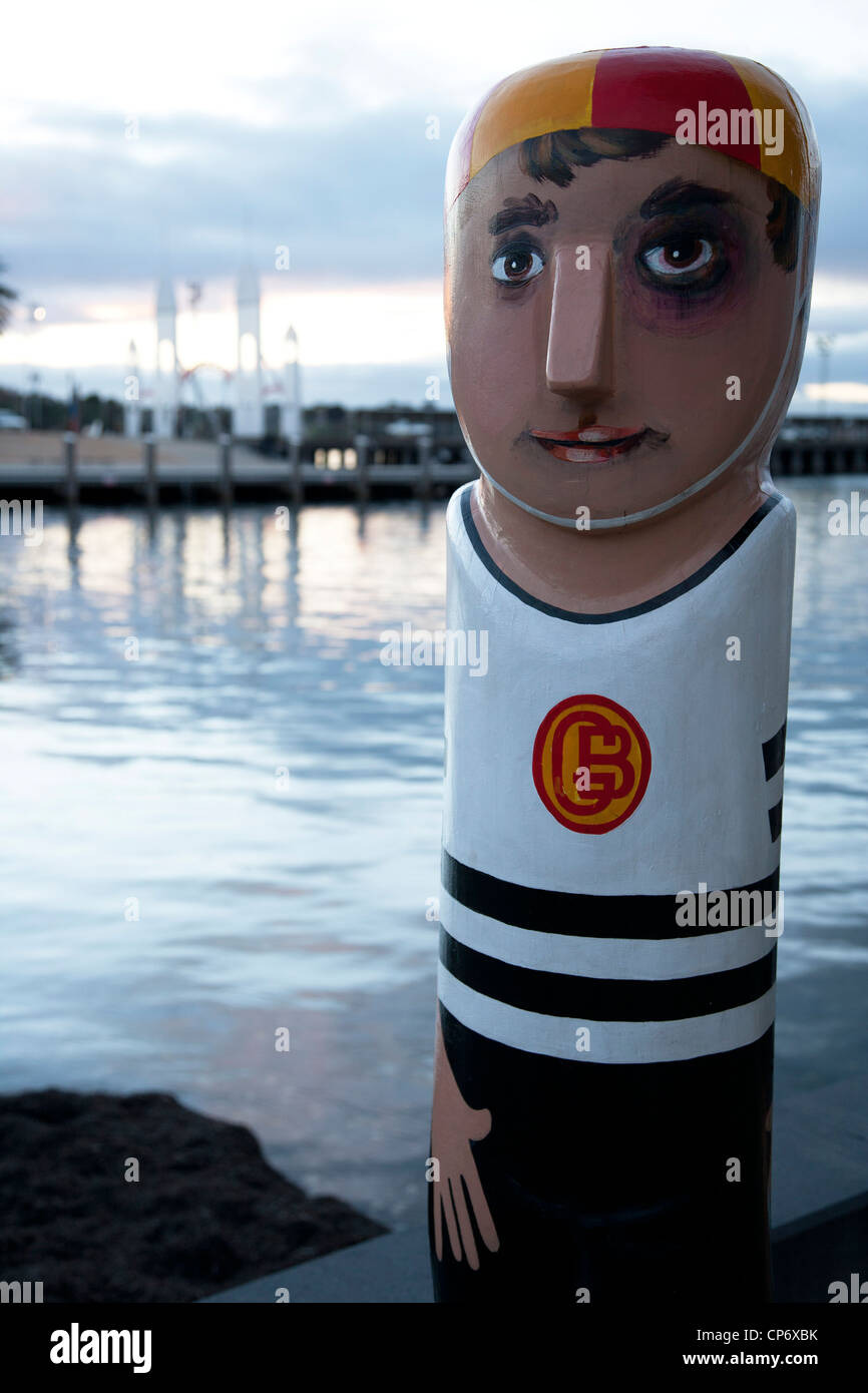 Painted statue by the bridge in Geelong Victoria Australia. - Stock Image