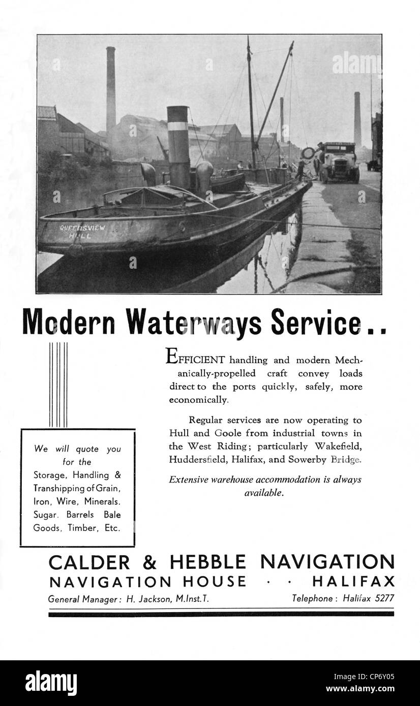 Advert for water freight transport on the Calder and Hebble Navigation, West Yorkshire before the era of canal nationalisation - Stock Image
