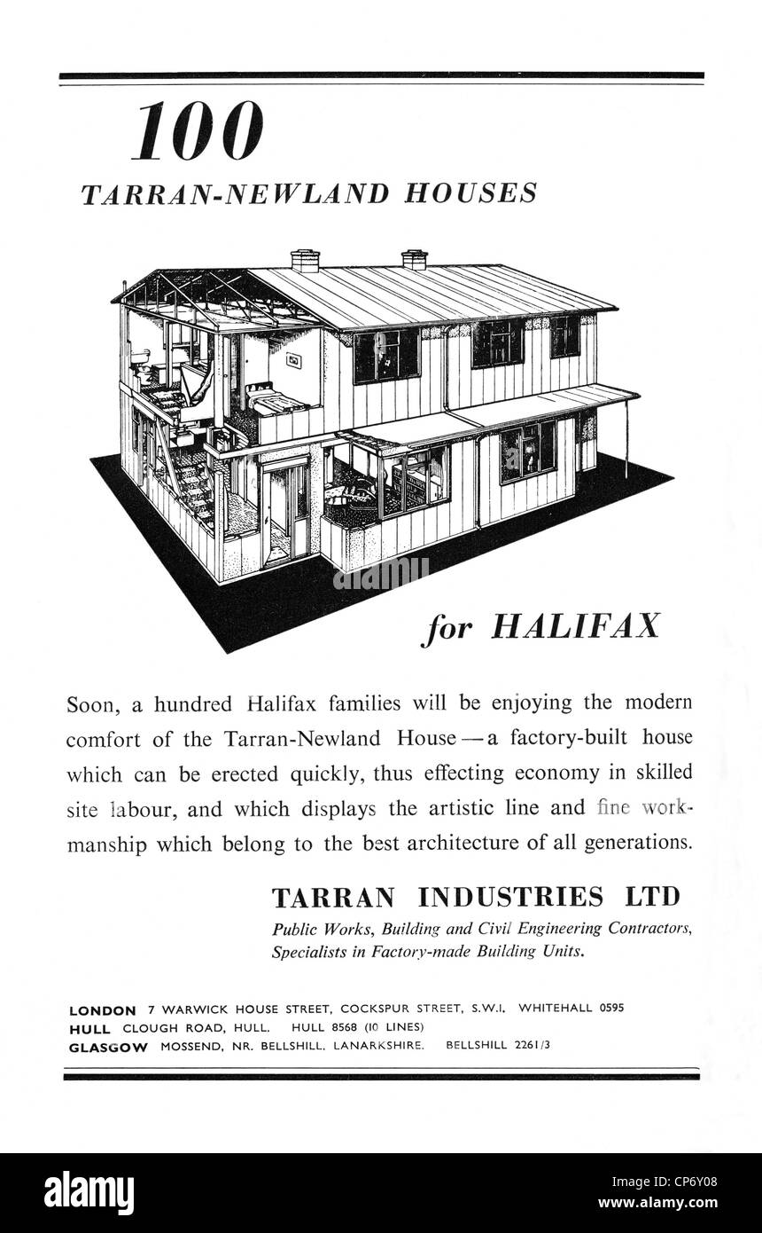 Advert for post war prefab houses for Halifax, West Yorkshire from Tarran Industries - Stock Image
