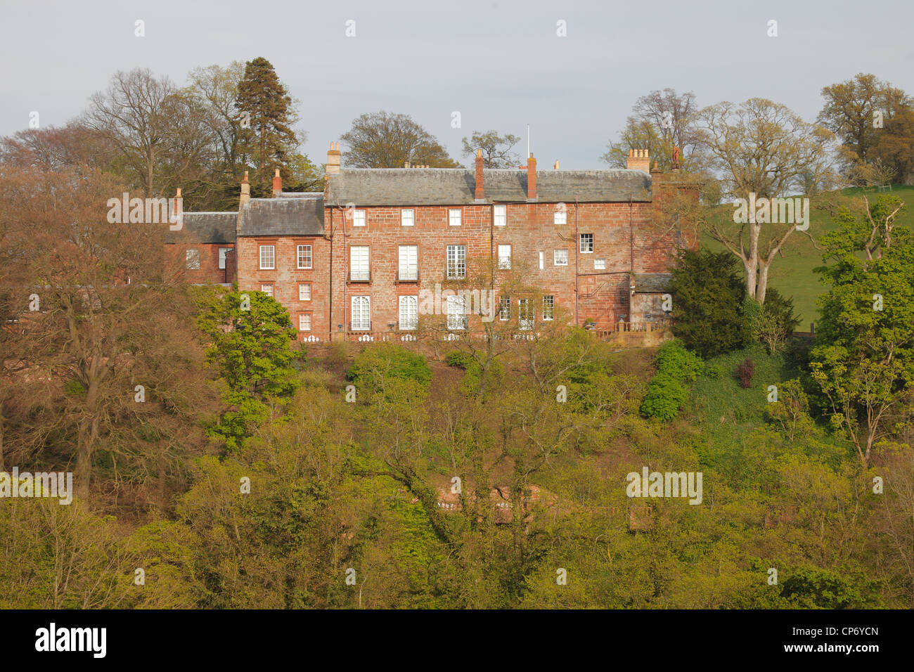 Corby Castle owned by Dr Edward Haughey, now Baron Ballyedmond, Great Corby near Wetheral, Carlisle, Cumbria, England. - Stock Image