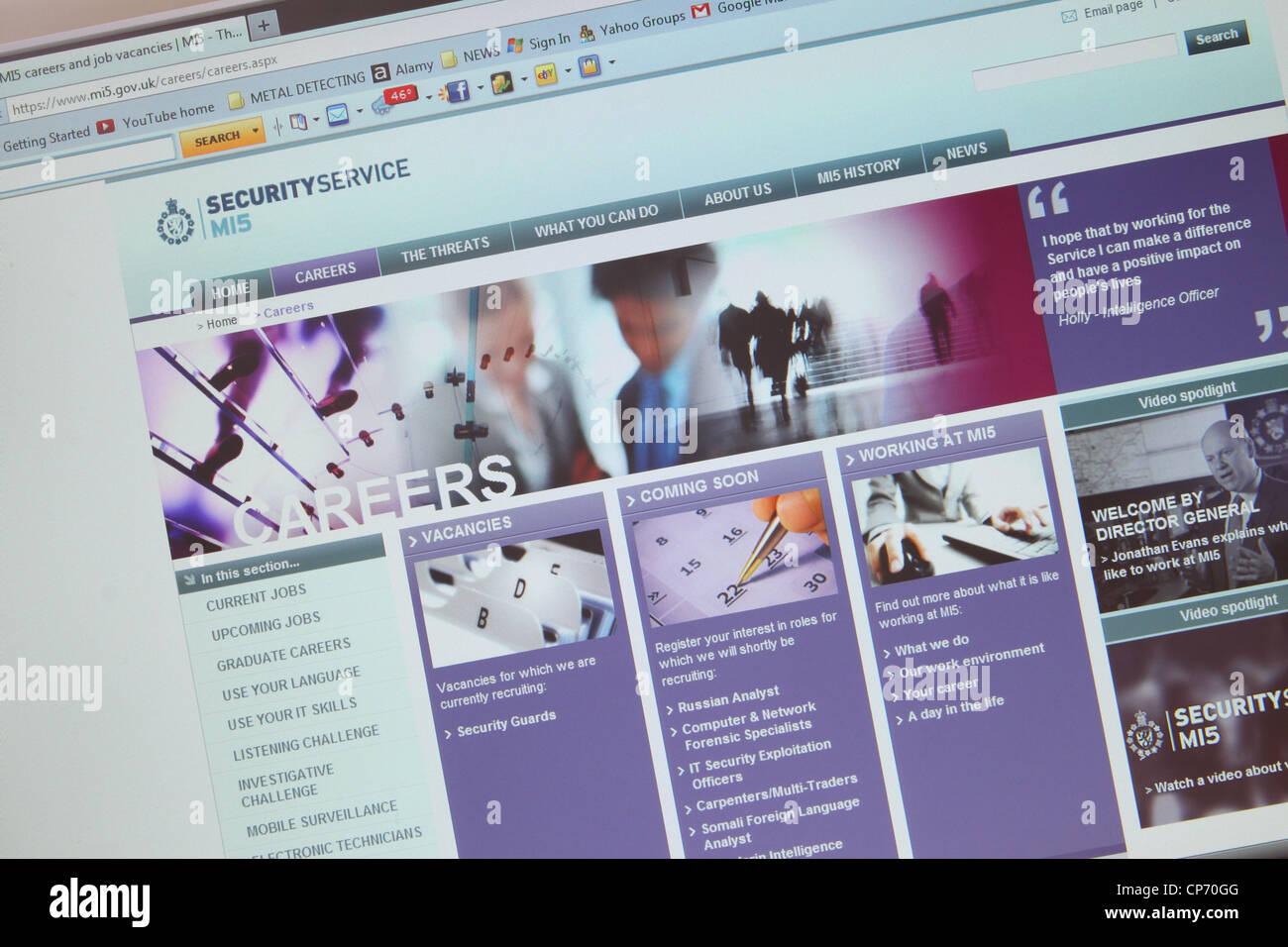 MI5 Security Service website spy careers page - Stock Image