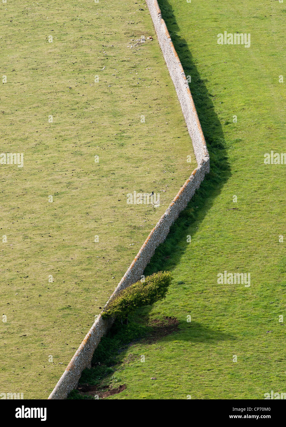 A stone wall between two fields in East Sussex - Stock Image