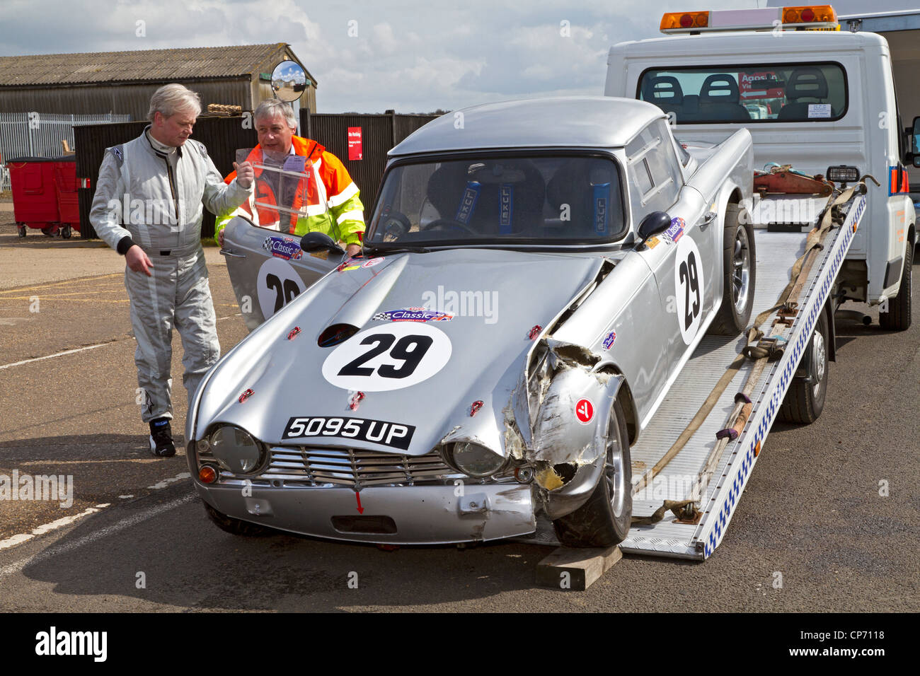 Heavily Damaged 1963 Triumph Tr4 Competitor In The Cscc Swinging