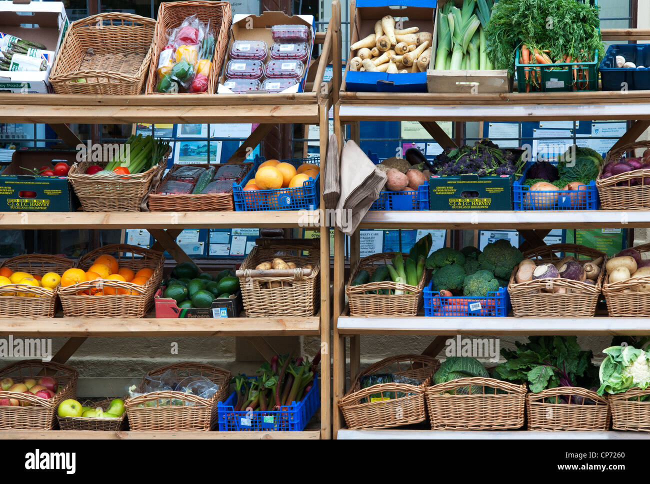 Fruit and vegetable stand outside a village shop in Long Compton, Warwickshire, England - Stock Image