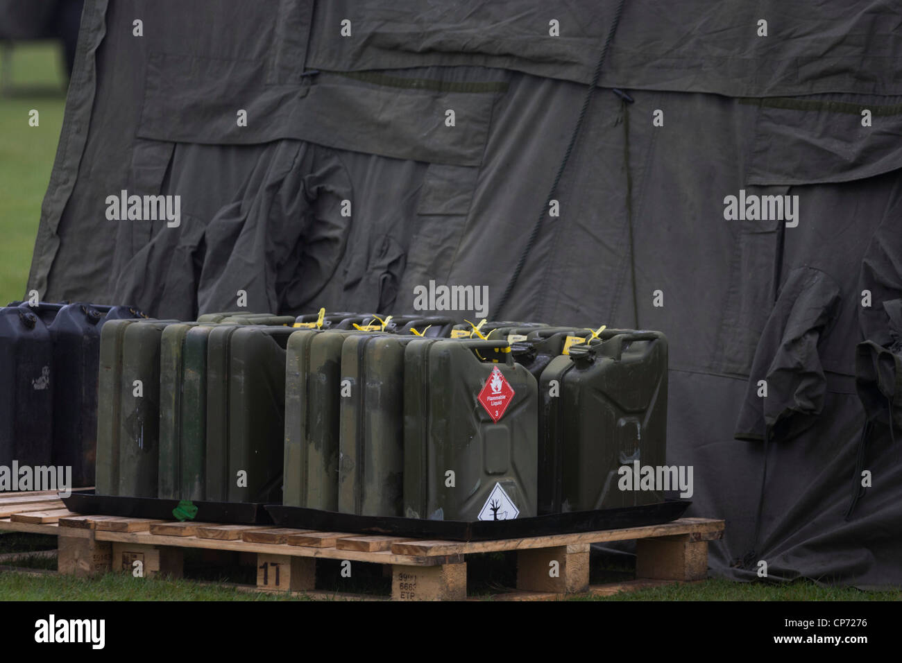 Secured flammable liquids in jerrycans relating to Rapier surface-to-air missiles stationed on Blackheath, a security - Stock Image