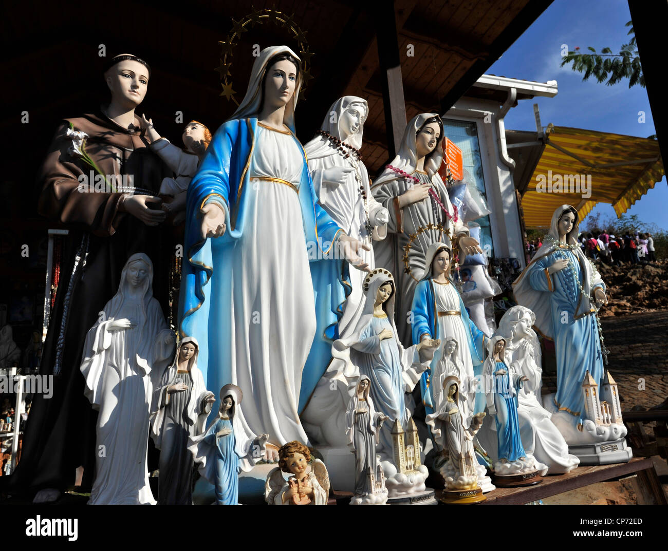 Europe Medjugorje Bosnia Herzegovina religious items at the beginning of Apparition Hill - Stock Image