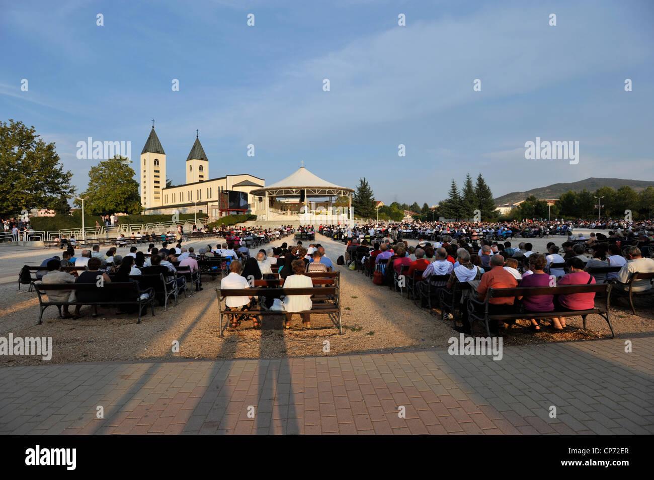 Europe Bosnia and Herzegovina Medjugorje Marian Shrine Church of Sy James Square of the Masses - Stock Image