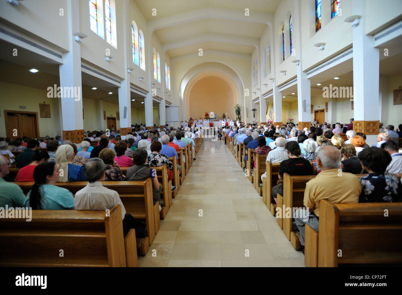 Europe Bosnia and Herzegovina Medjugorje Marian Shrine Church Interior of the Church of St. James - Stock Image