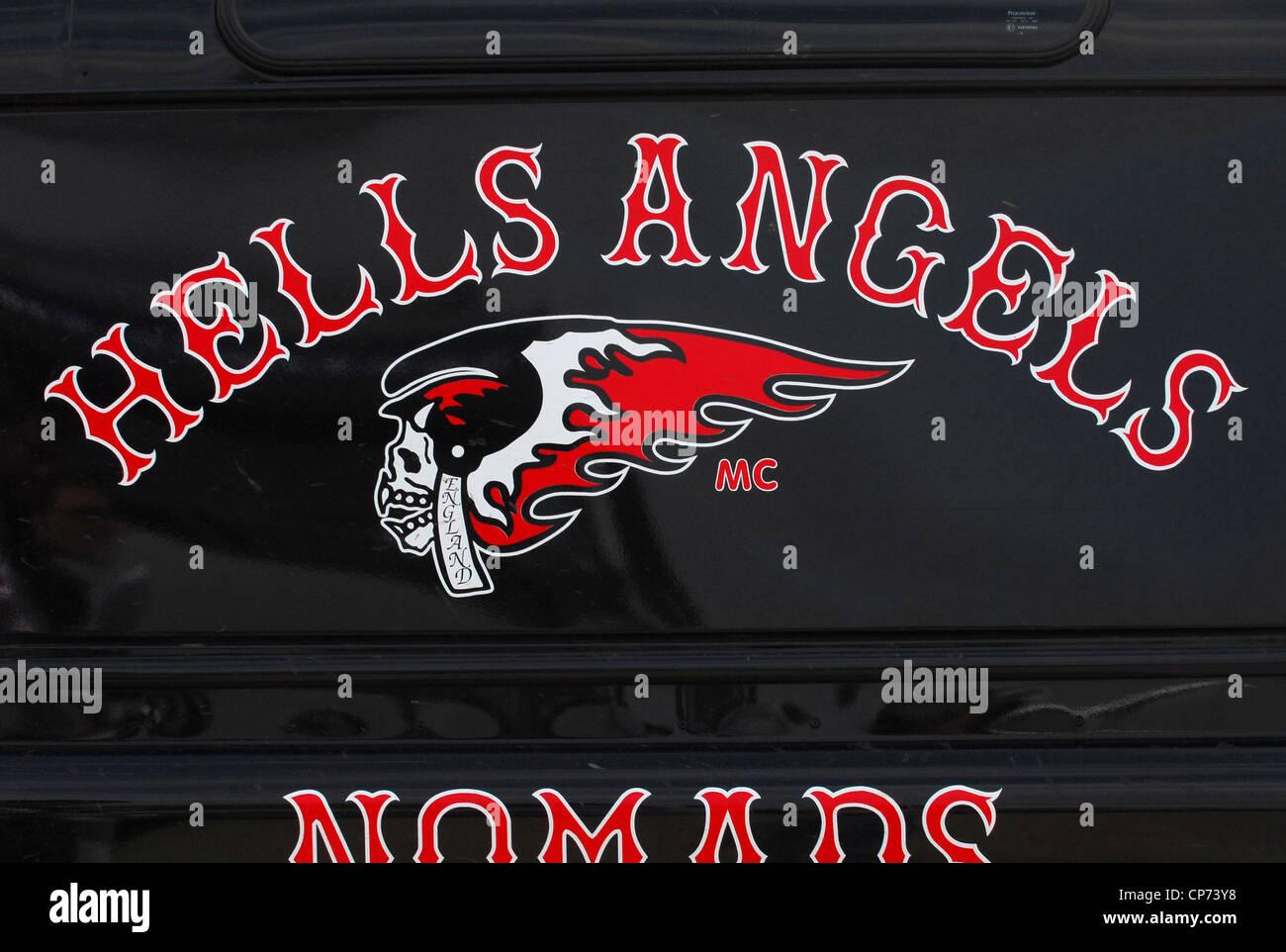 """Hells Angels"" or ""Hells Angels Motorcycle Club"" Logo on the Side of a Van. Stock Photo"