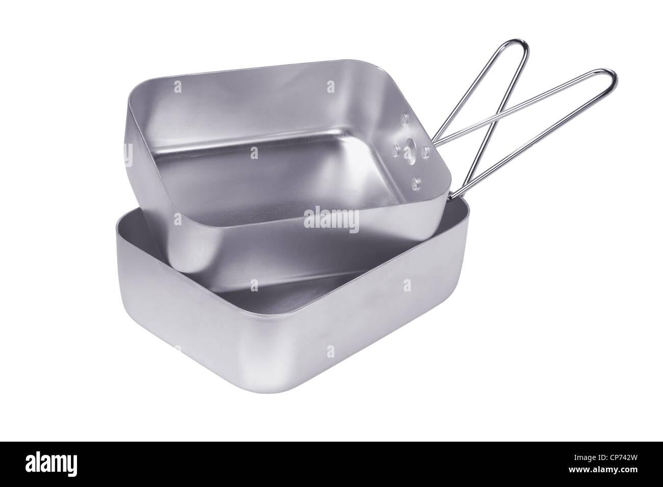 Aluminum Mess tins on White Background - Stock Image