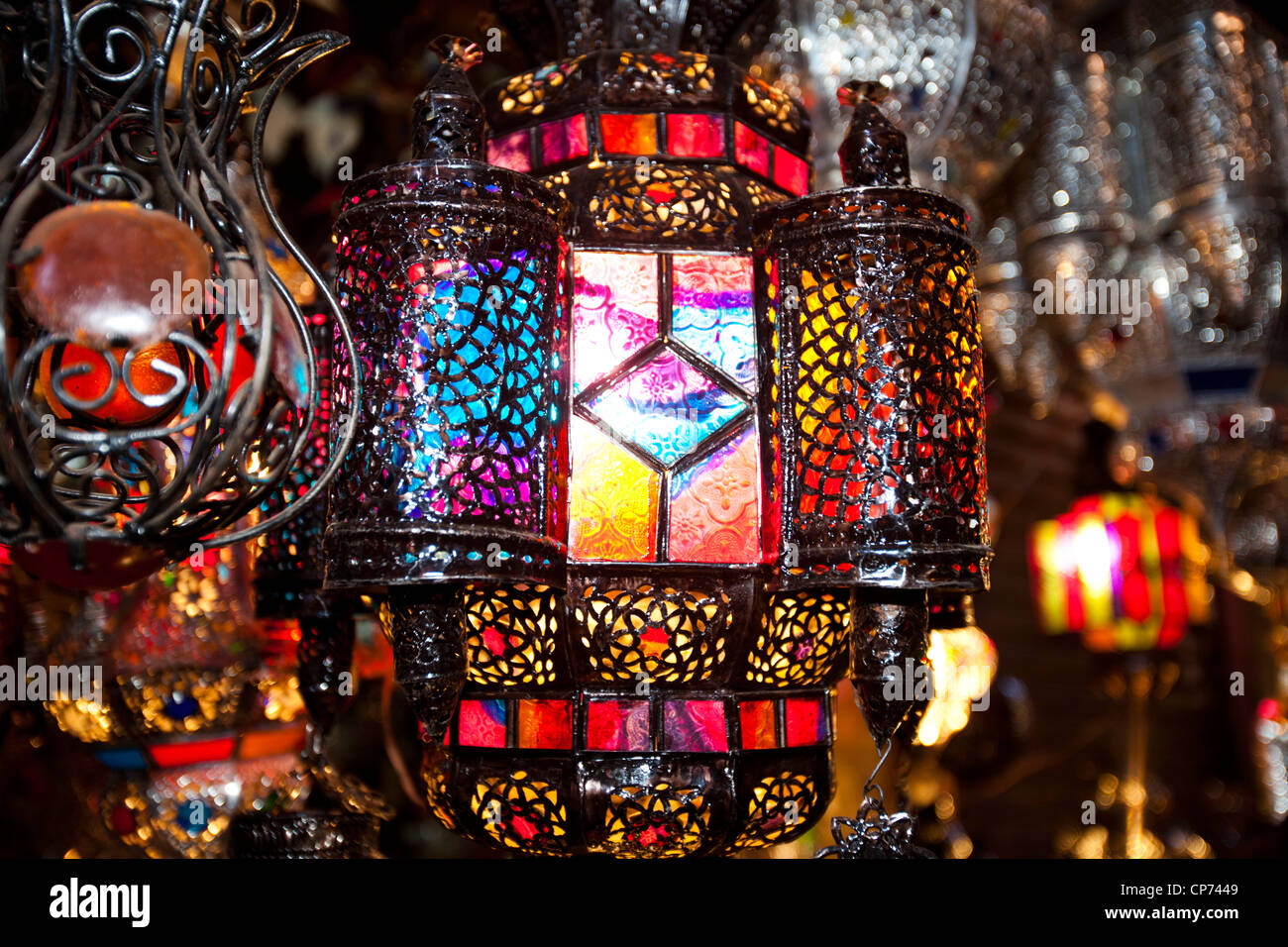 Traditional moroccan lamps in a souk in marrakech morocco stock traditional moroccan lamps in a souk in marrakech morocco stock photo 48100089 alamy arubaitofo Image collections
