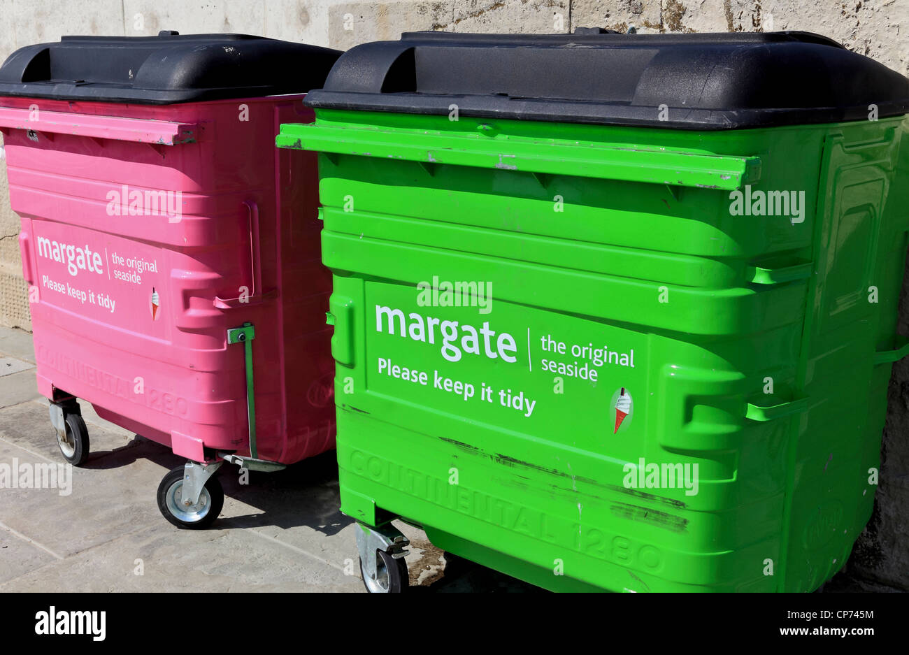 3863. Rubbish Bins, Margate, Kent, UK - Stock Image