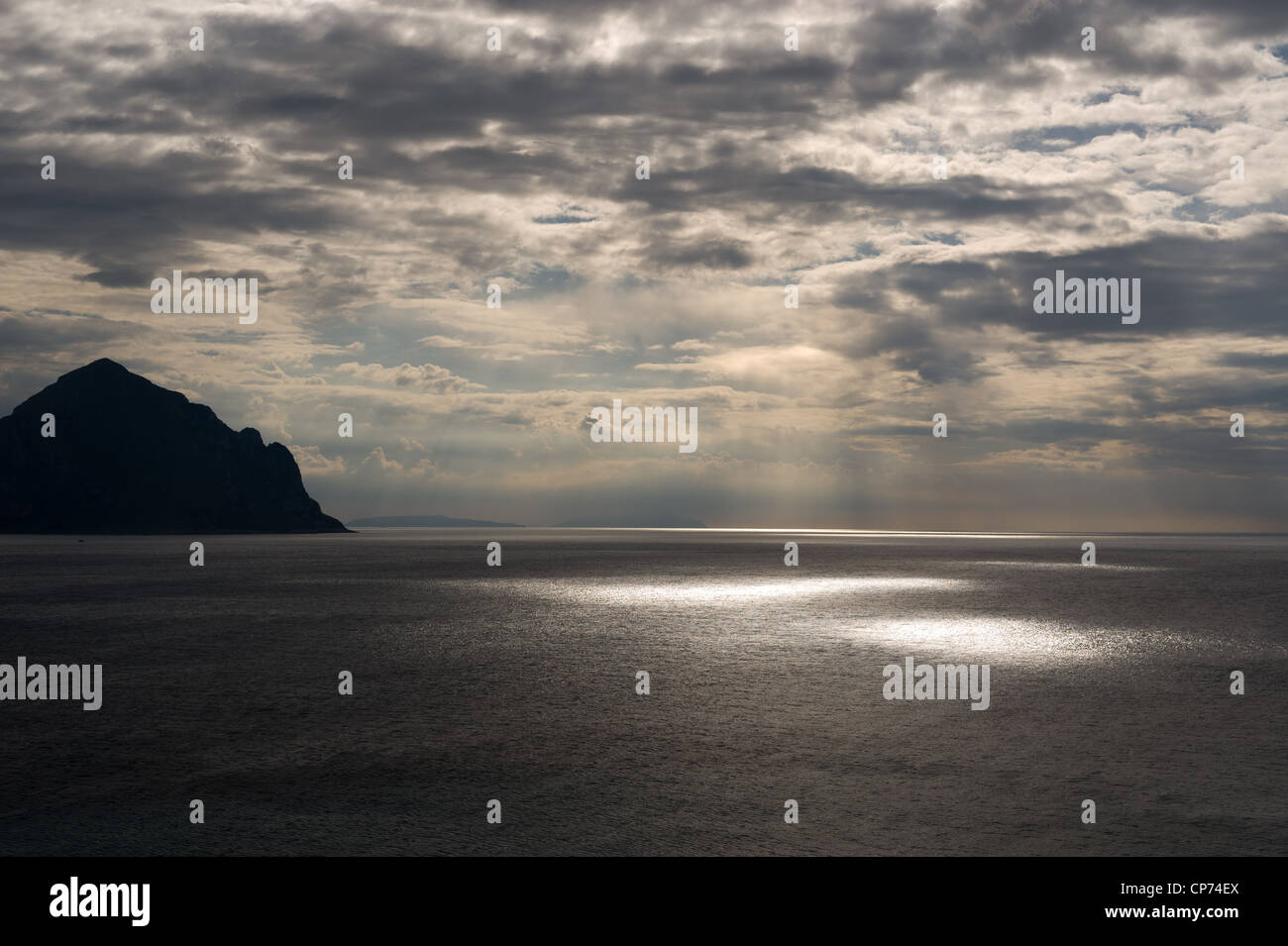 Spot lights on the sea in Sicily - Stock Image