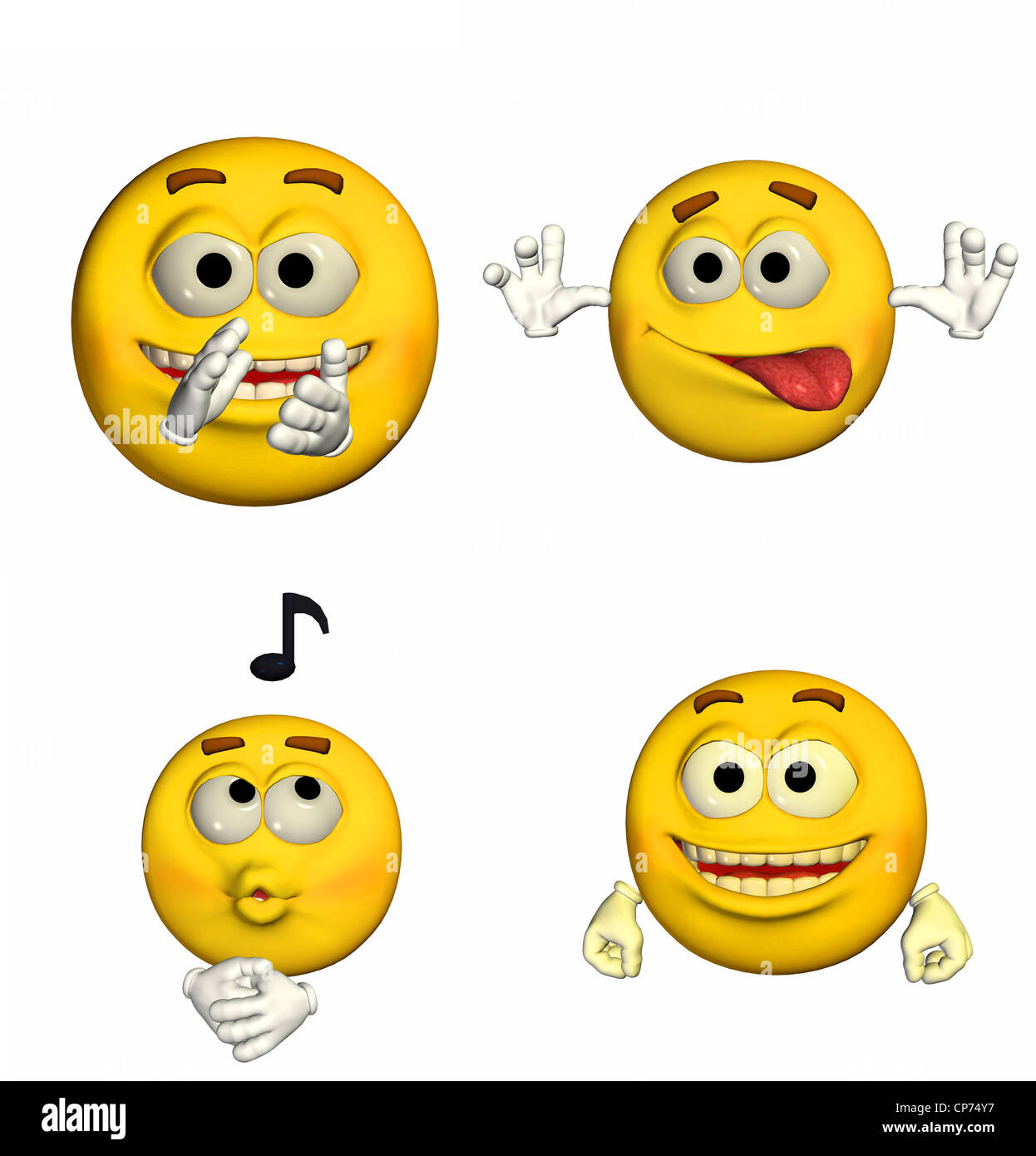 Illustration of a pack of four (4) emoticons / smileys with different poses and expressions isolated on a white - Stock Image