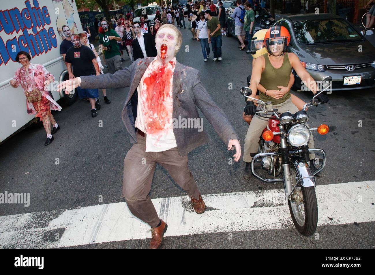A zombie at the NYC Zombie Crawl, May 30, 2010. New York City, NY, USA. Stock Photo