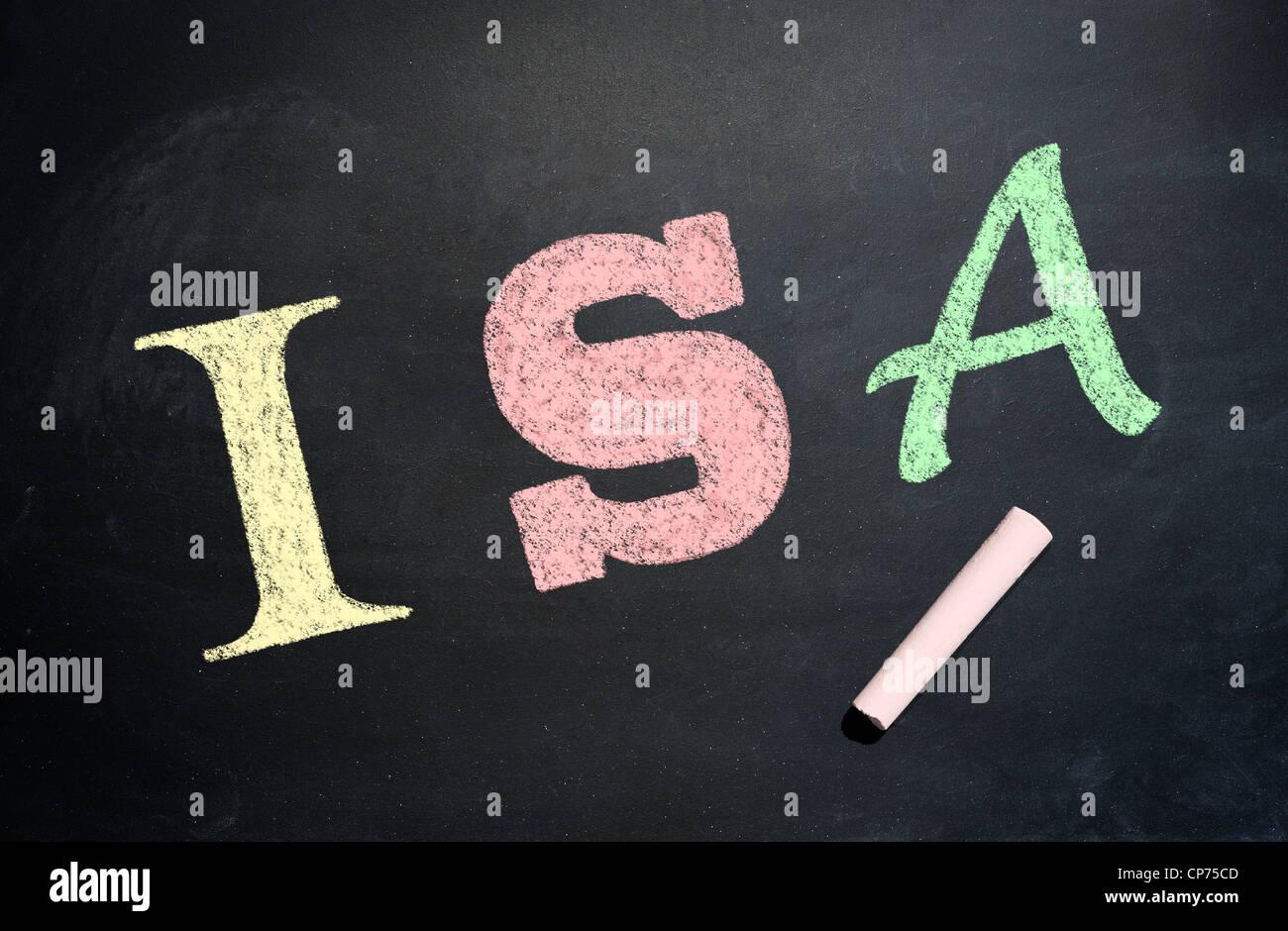 ISA written in chalk on a blackboard - Stock Image