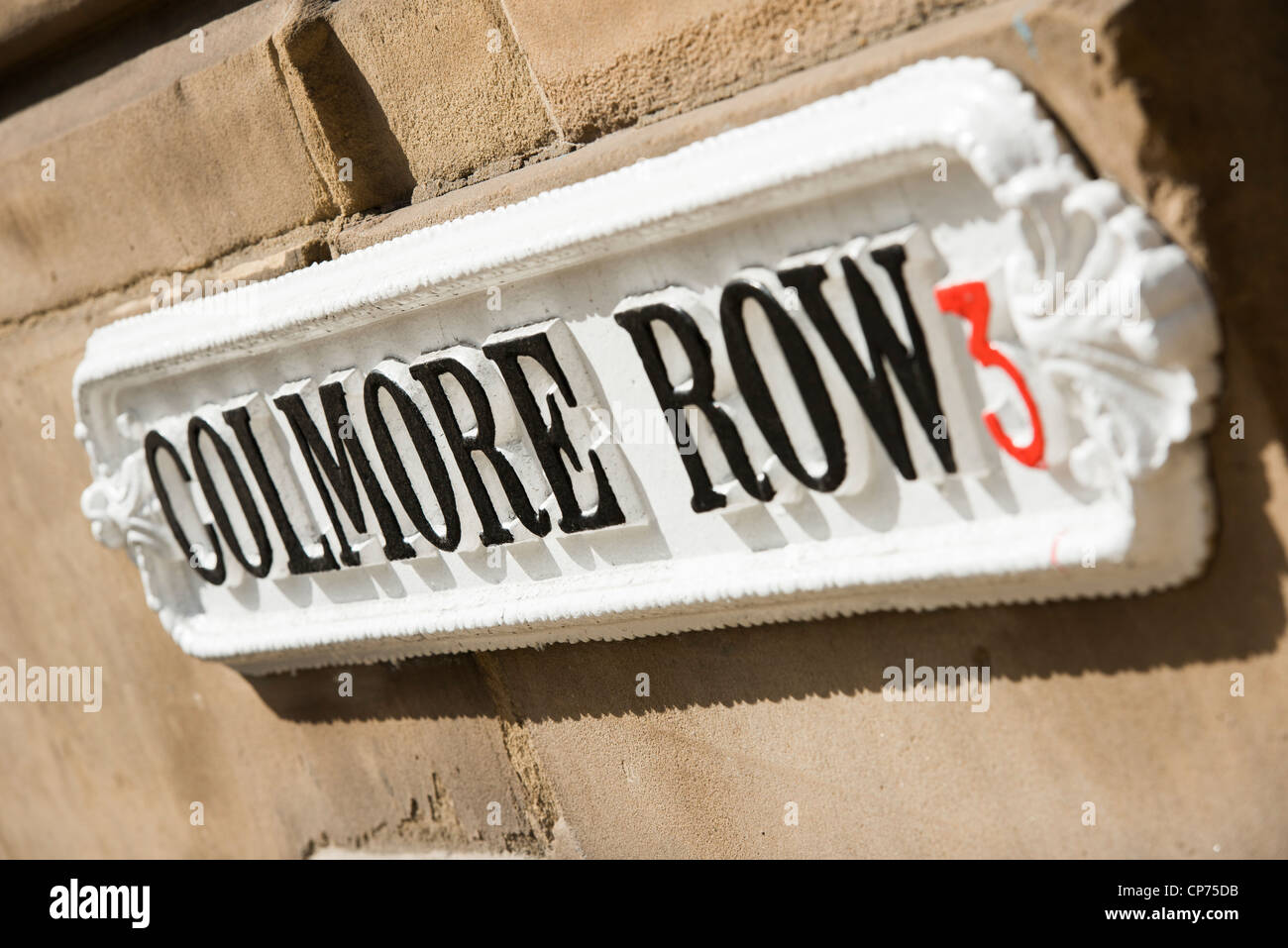 Colmore Row street sign, Birmingham city centre, West Midlands, England. - Stock Image