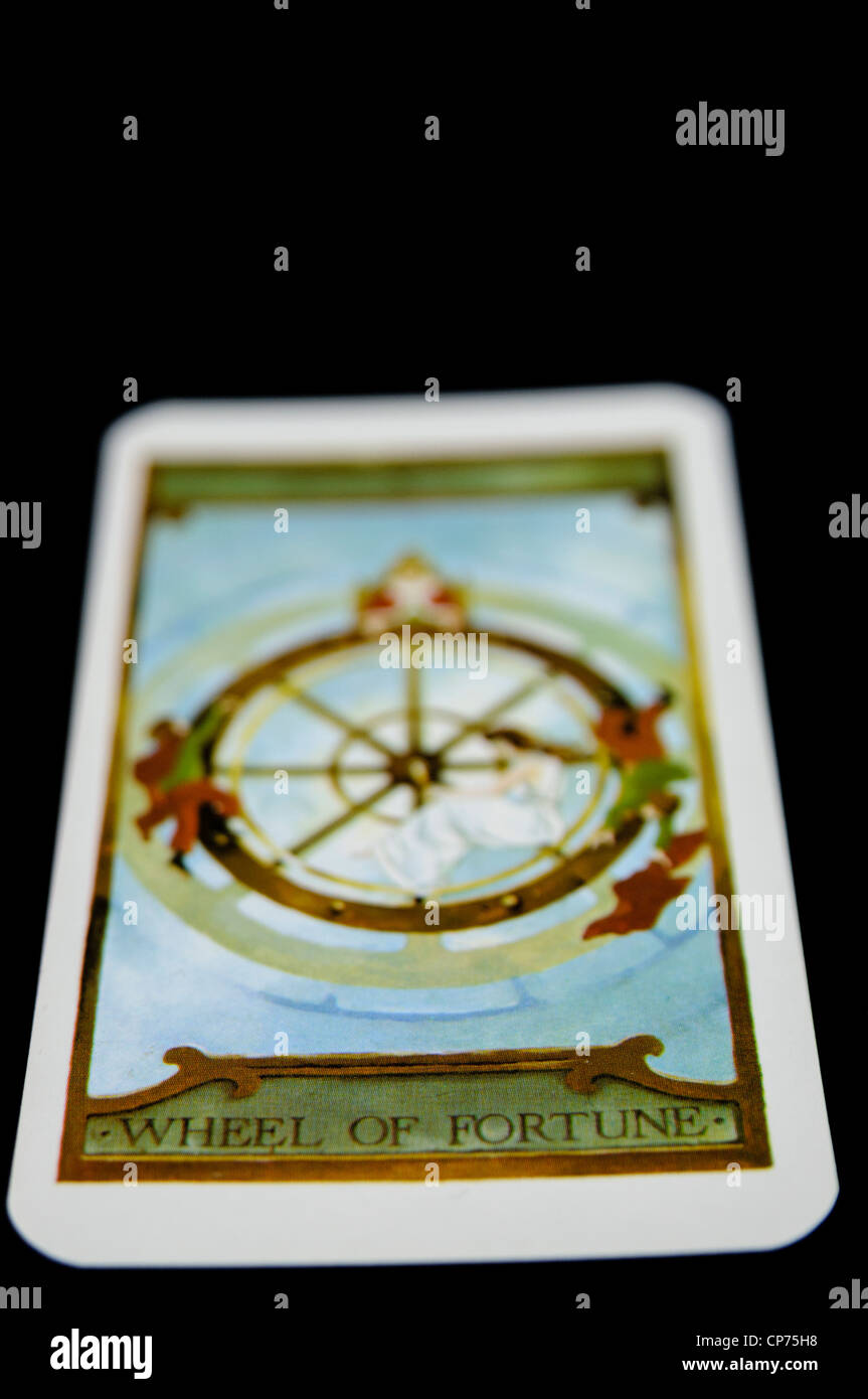 """""""Wheel of Fortune"""" from a deck of Tarot Cards Stock Photo"""