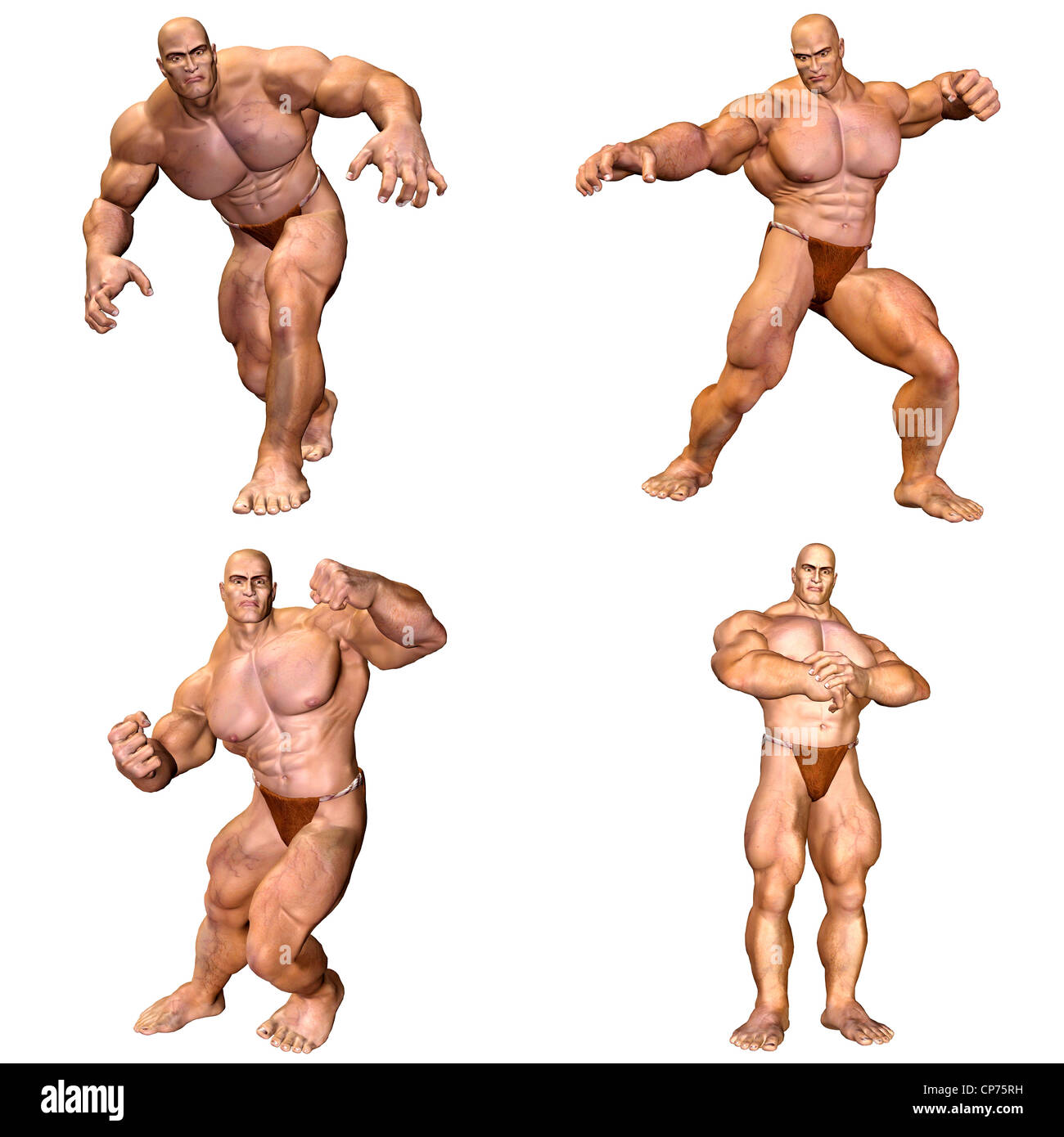 Illustration Of A Pack Of Four 4 Muscular Men With Different Poses Stock Photo Alamy