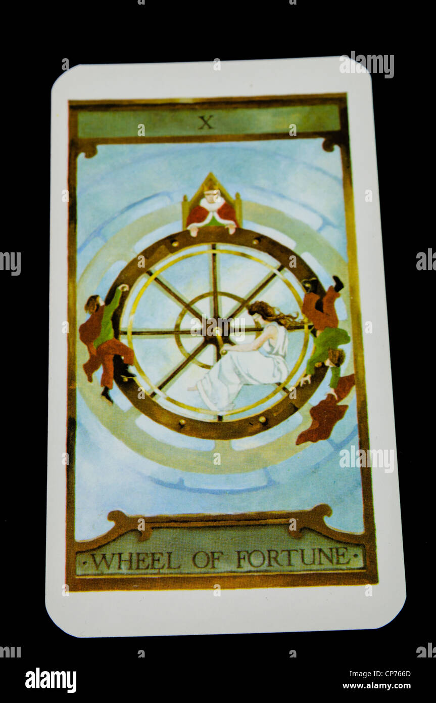 'Wheel of Fortune' card from a deck of Tarot Cards - Stock Image