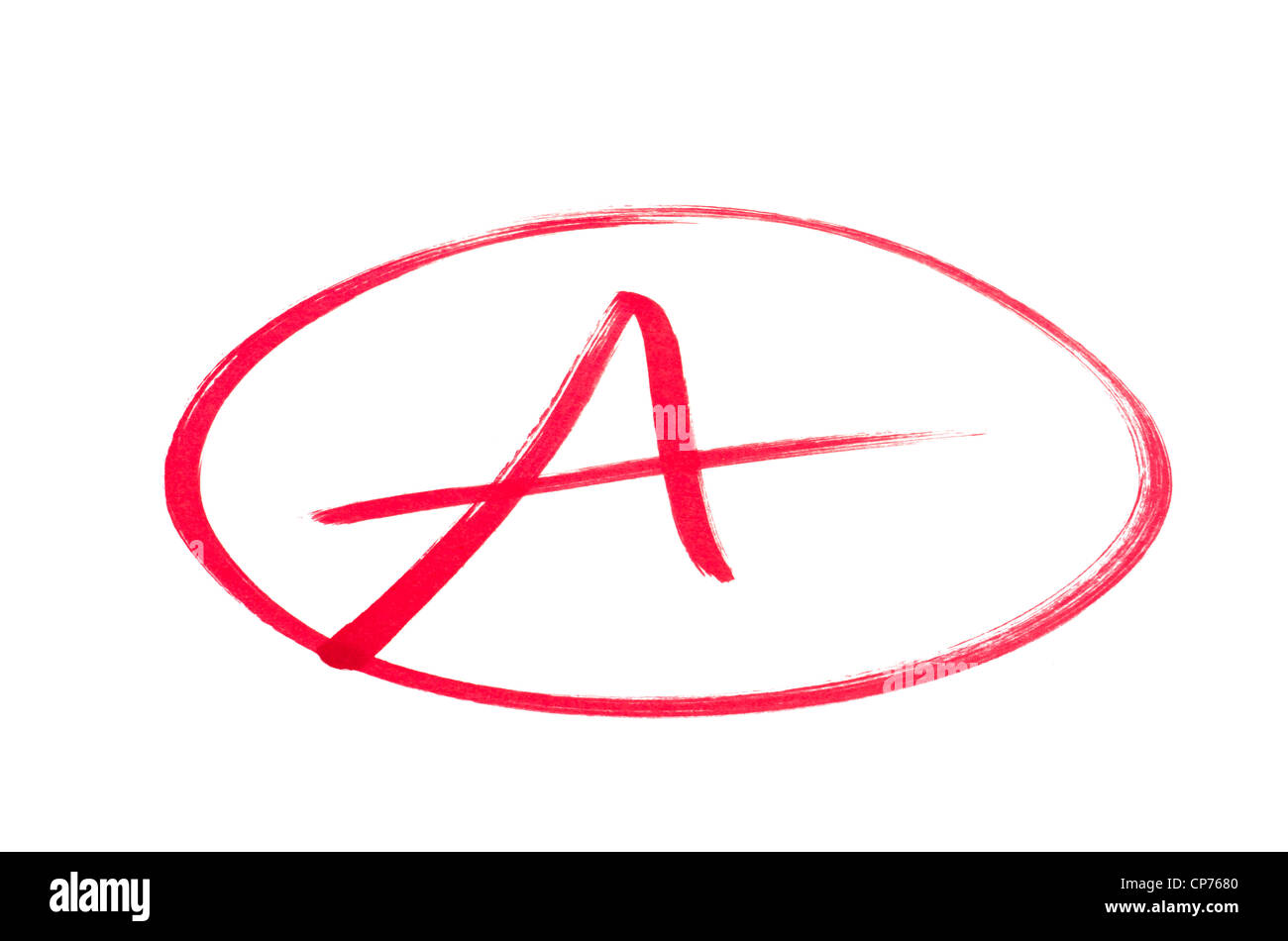 A handwritten grade A for an excellent achievements in red ink. Isolated on white. - Stock Image