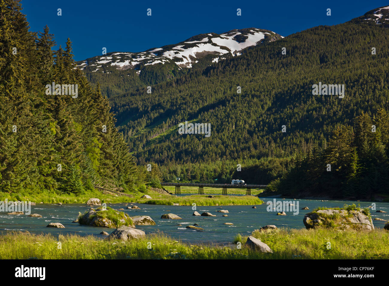 Scenic view of the Chilkoot River near Lutak Outlet near Haines, Inside Passage, Southeast Alaska, Summer - Stock Image