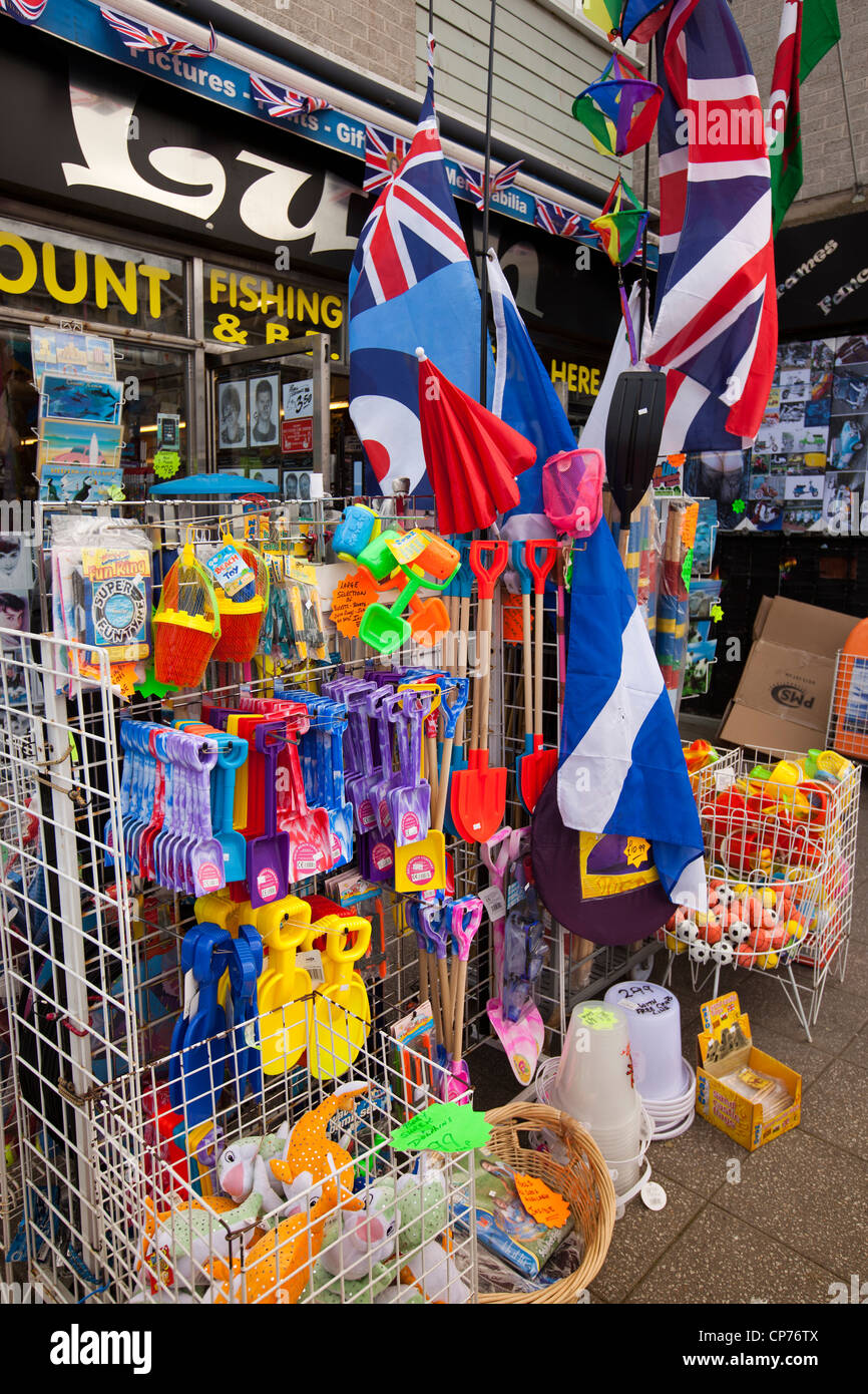 UK, England, Devon, Paignton, Torbay Road, plastic buckets, spades and sandcastle flags for sale - Stock Image