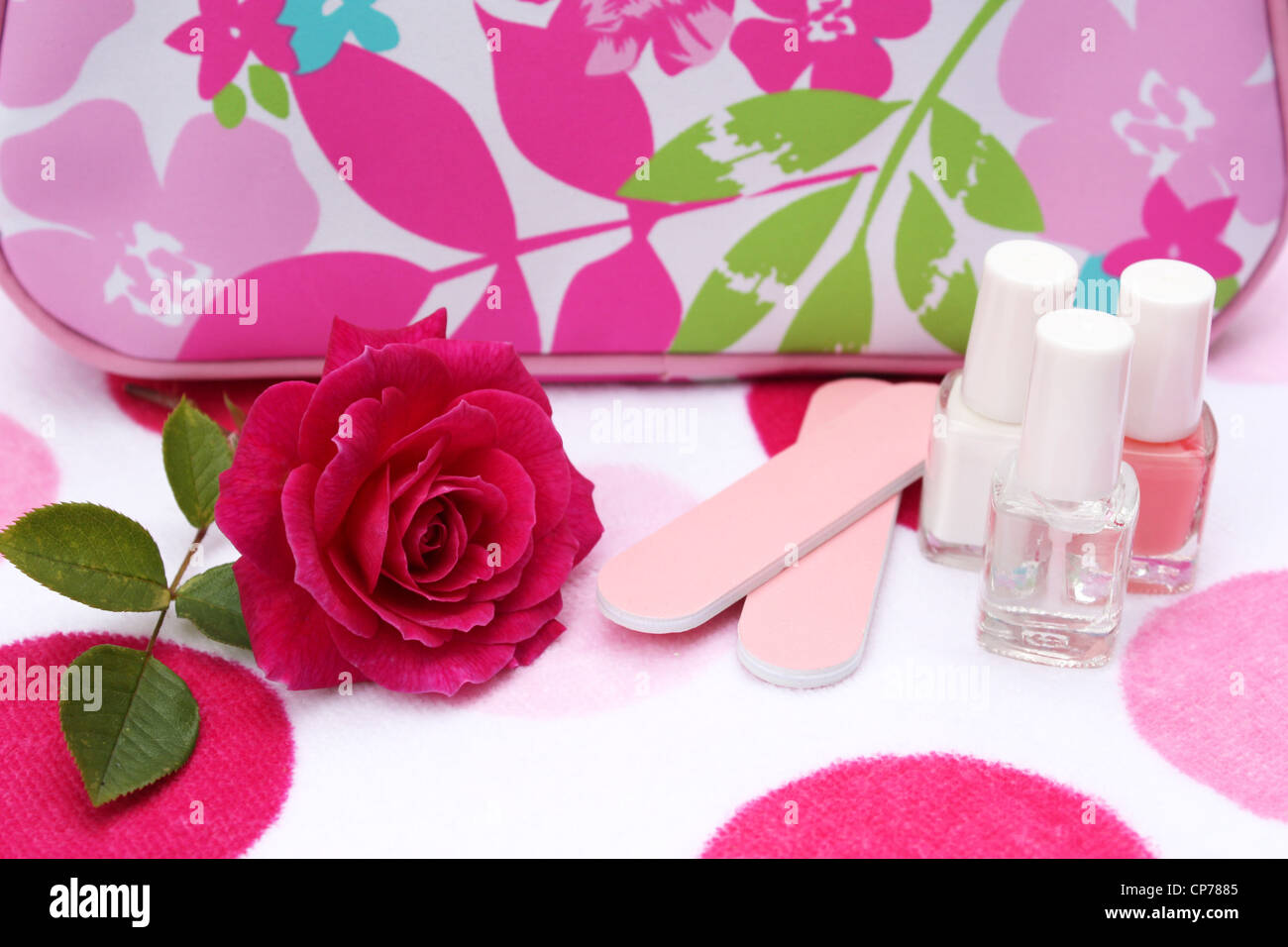Nail varnish and accessory bag with a pink rose flower - Stock Image