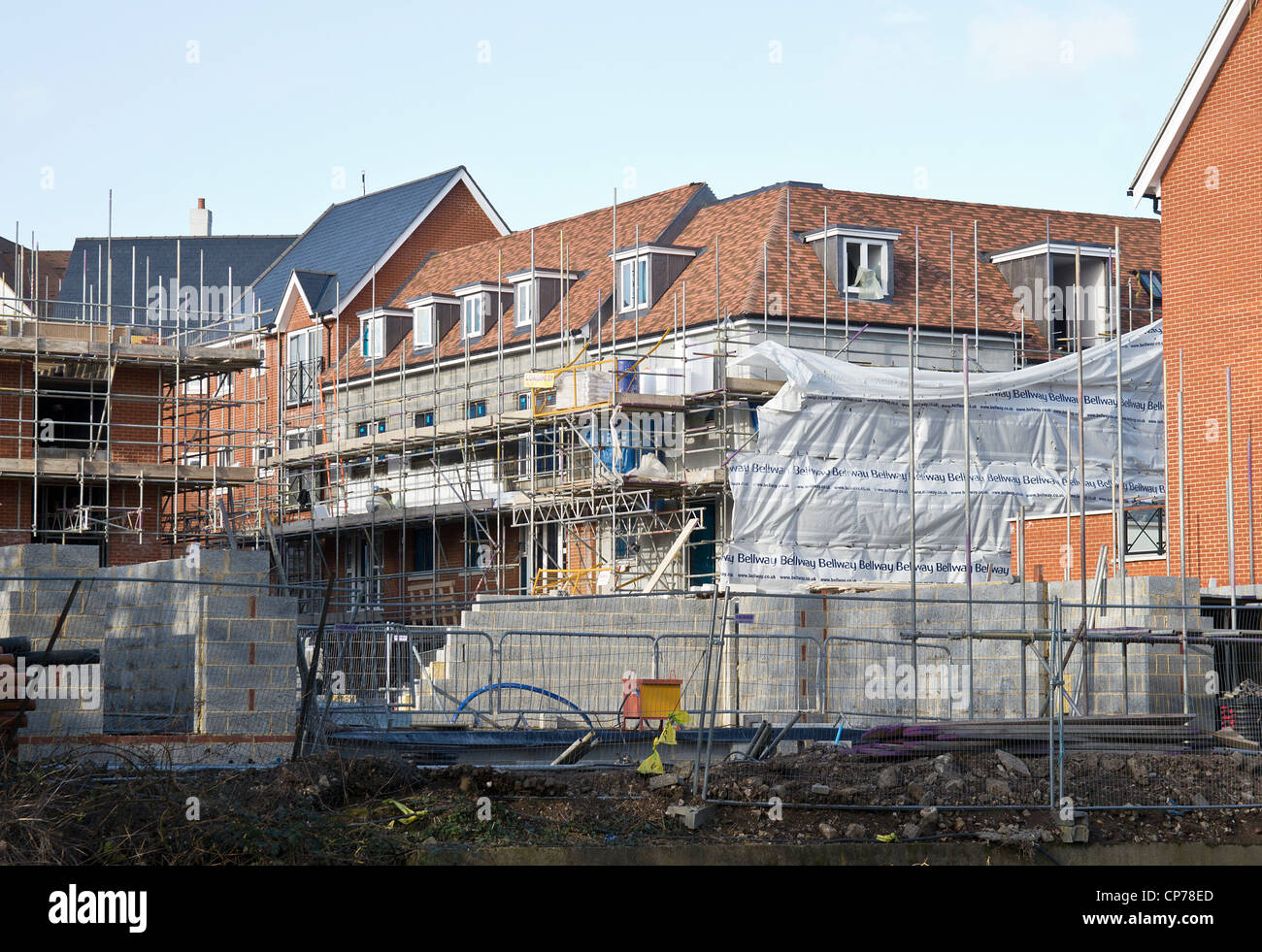 Construction Site. New Build High Density  Housing - Stock Image