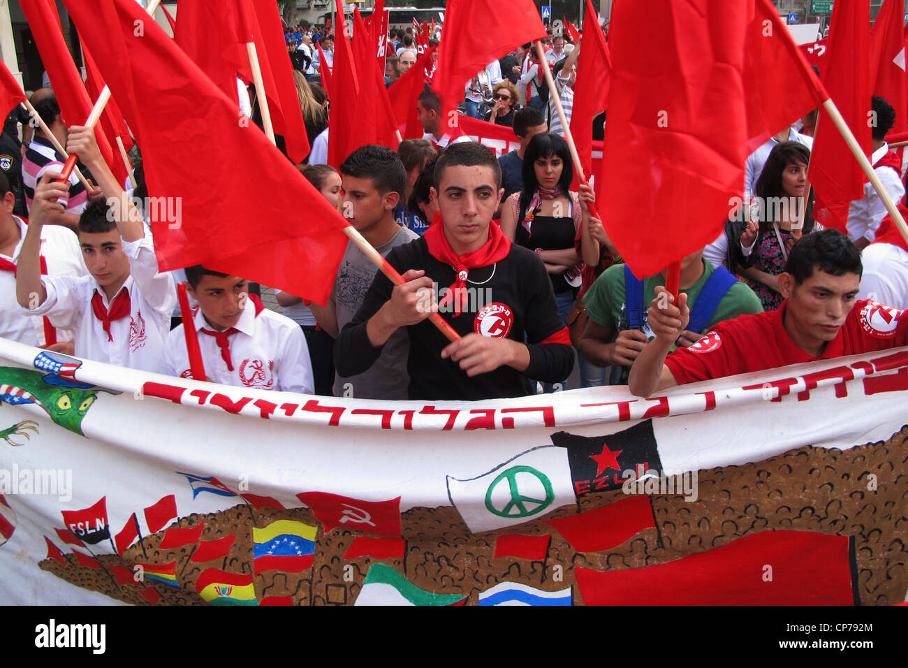 May Day demonstration to mark the International Workers' Day in Tel Aviv Israel - Stock Image