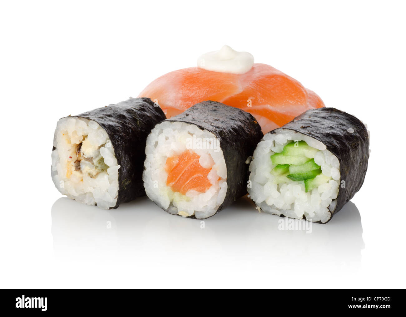 Sushi and rolls isolated on a white background - Stock Image