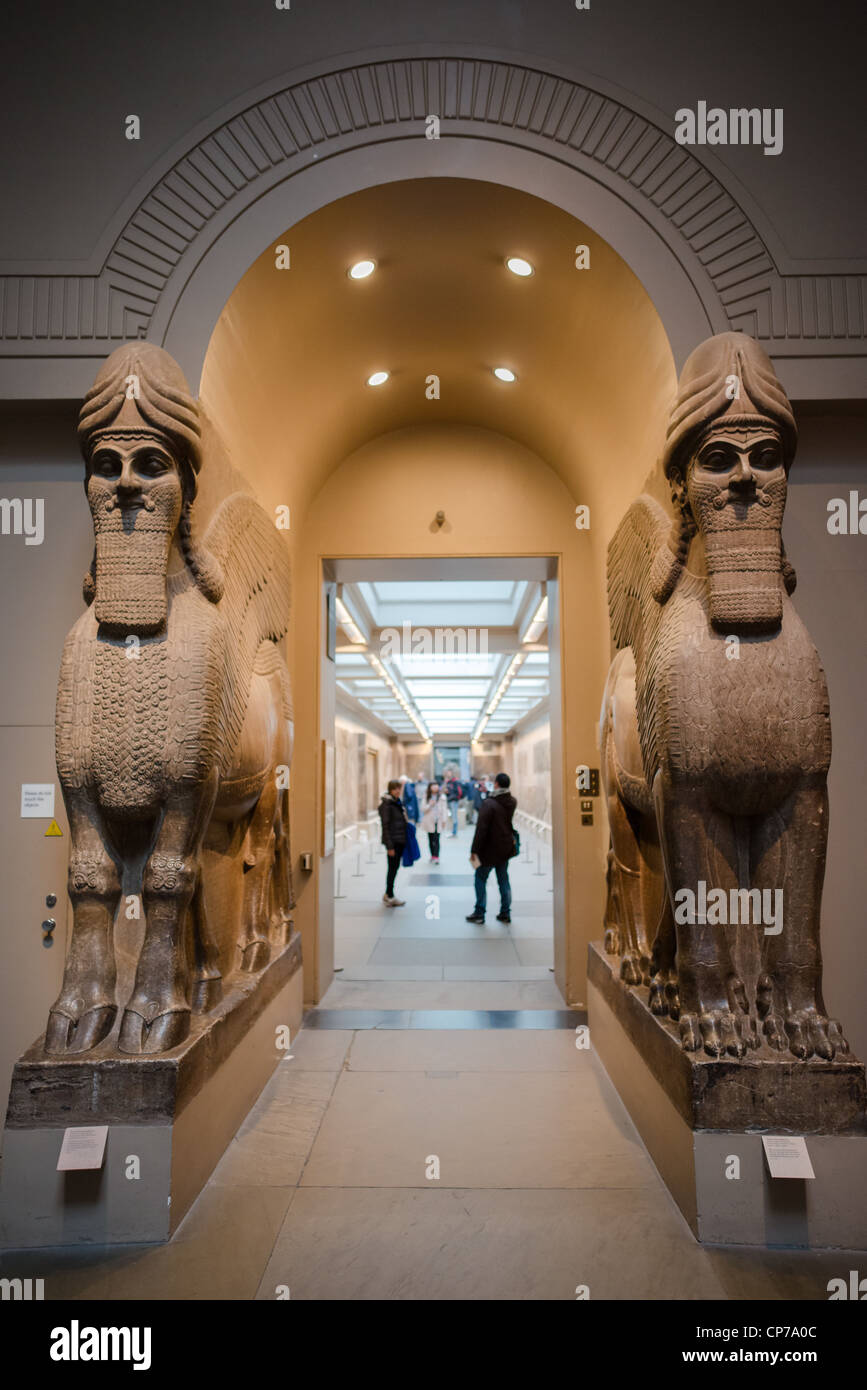 Assyrian winged bulls from Khorsabad, British Museum, London, England. HIGH RESOLUTION IMAGE TAKEN WITH CARL ZEISS Stock Photo
