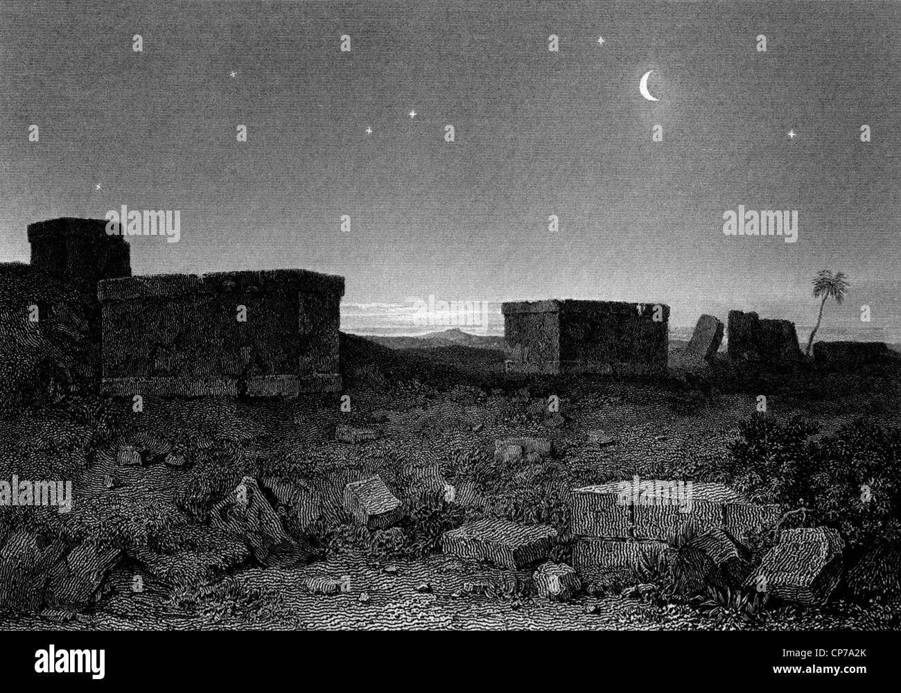 Ancient Greek Sarcophagus on plains of Plataea or Plataeae at night. - Stock Image