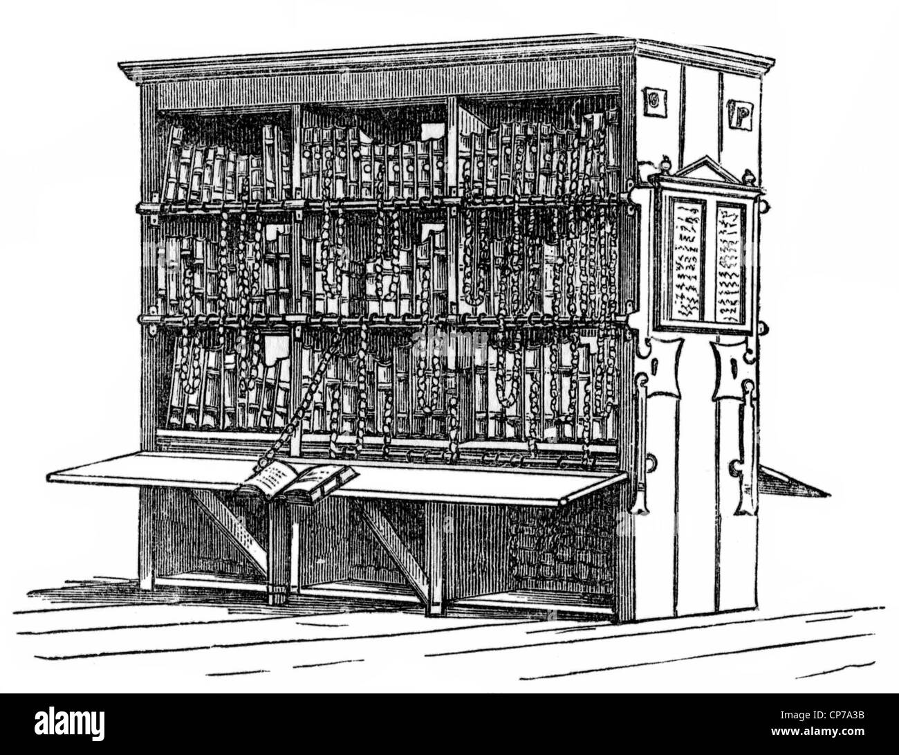 Engraving of antique bookcase on white background. - Stock Image
