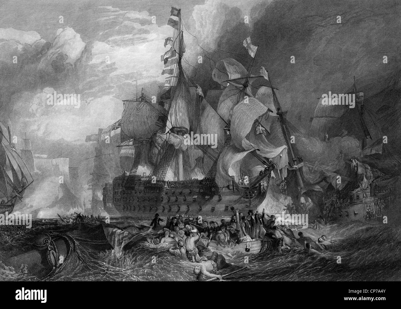 Black and white engraving of the Battle of Trafalgar. Engraving by William Miller after J M W Turner in 1875. - Stock Image