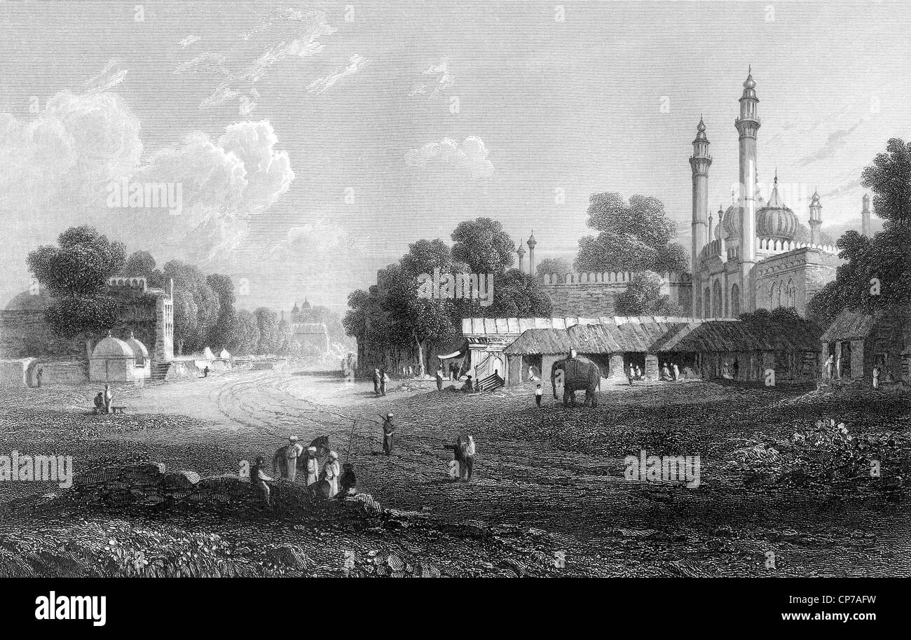 Scenic view of city of Delhi in India. Engraved in 1833. - Stock Image