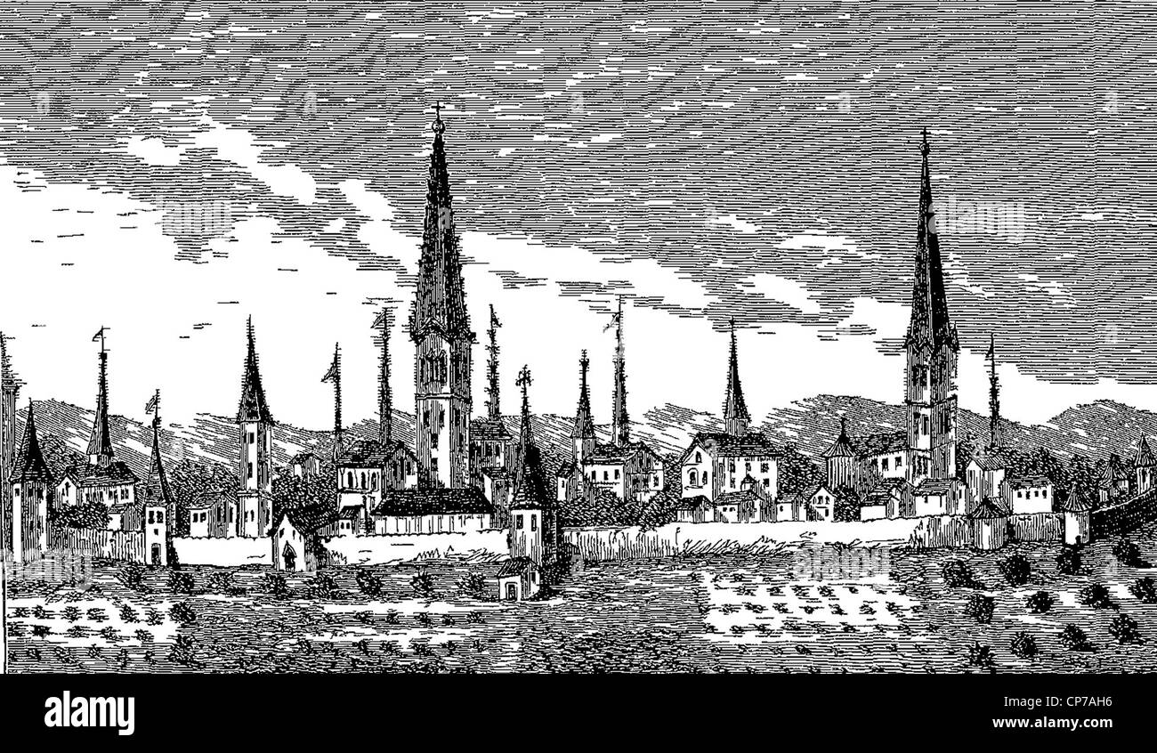 View of Dortmund published in the Sixteenth Century From an Engraving on Copper in P. Bertius's book,'Theatrum - Stock Image