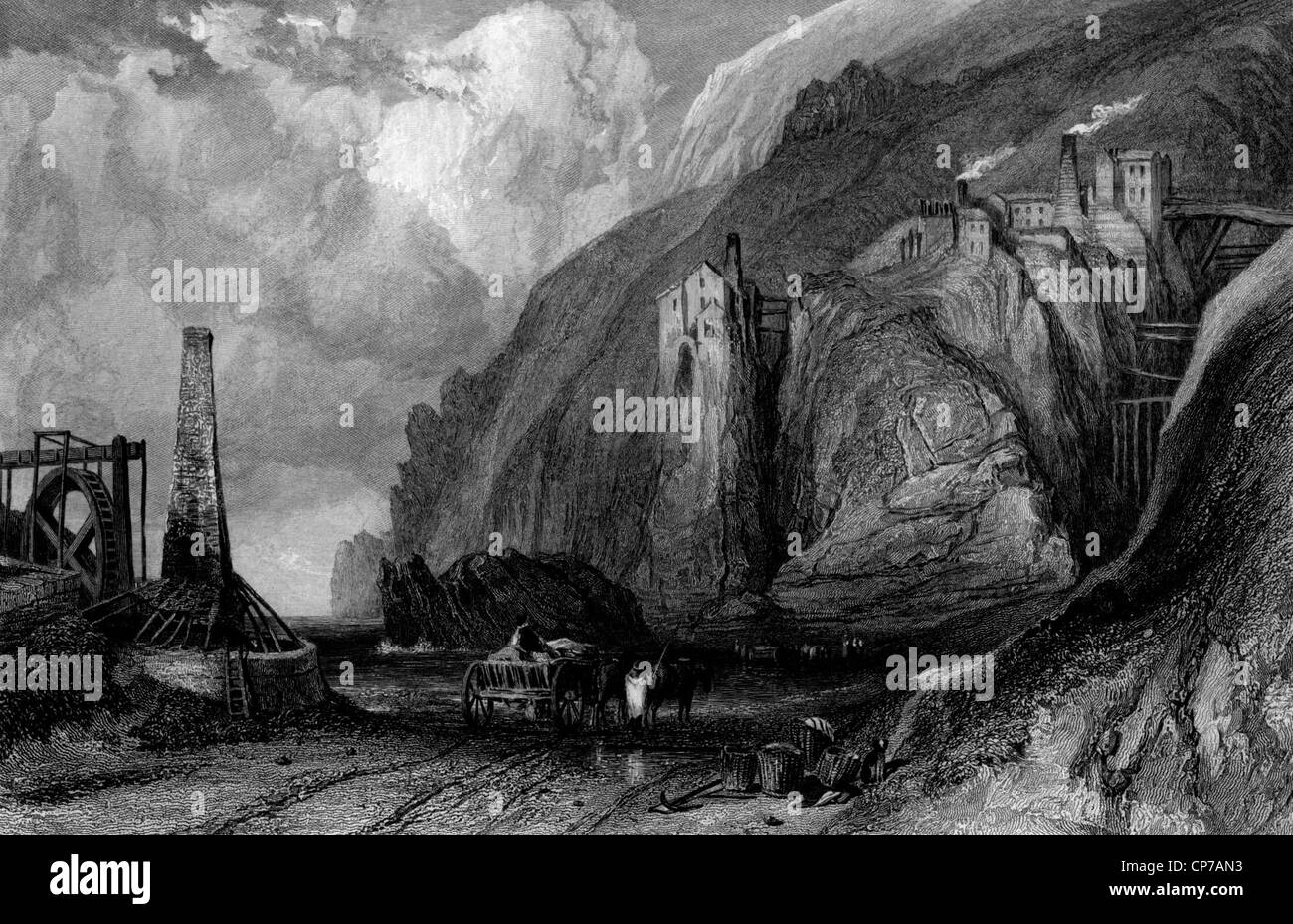 Scenic view of Botallack village coastal tin mine, Cornwall, England, Engraved by William Miller in 1836. - Stock Image