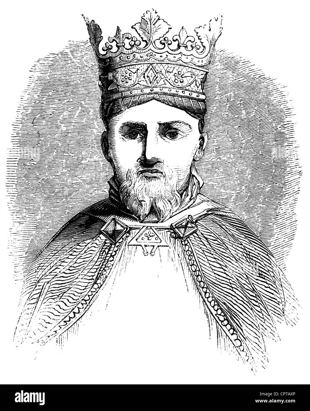 Engraving of Henry IV of England with white background. - Stock Image
