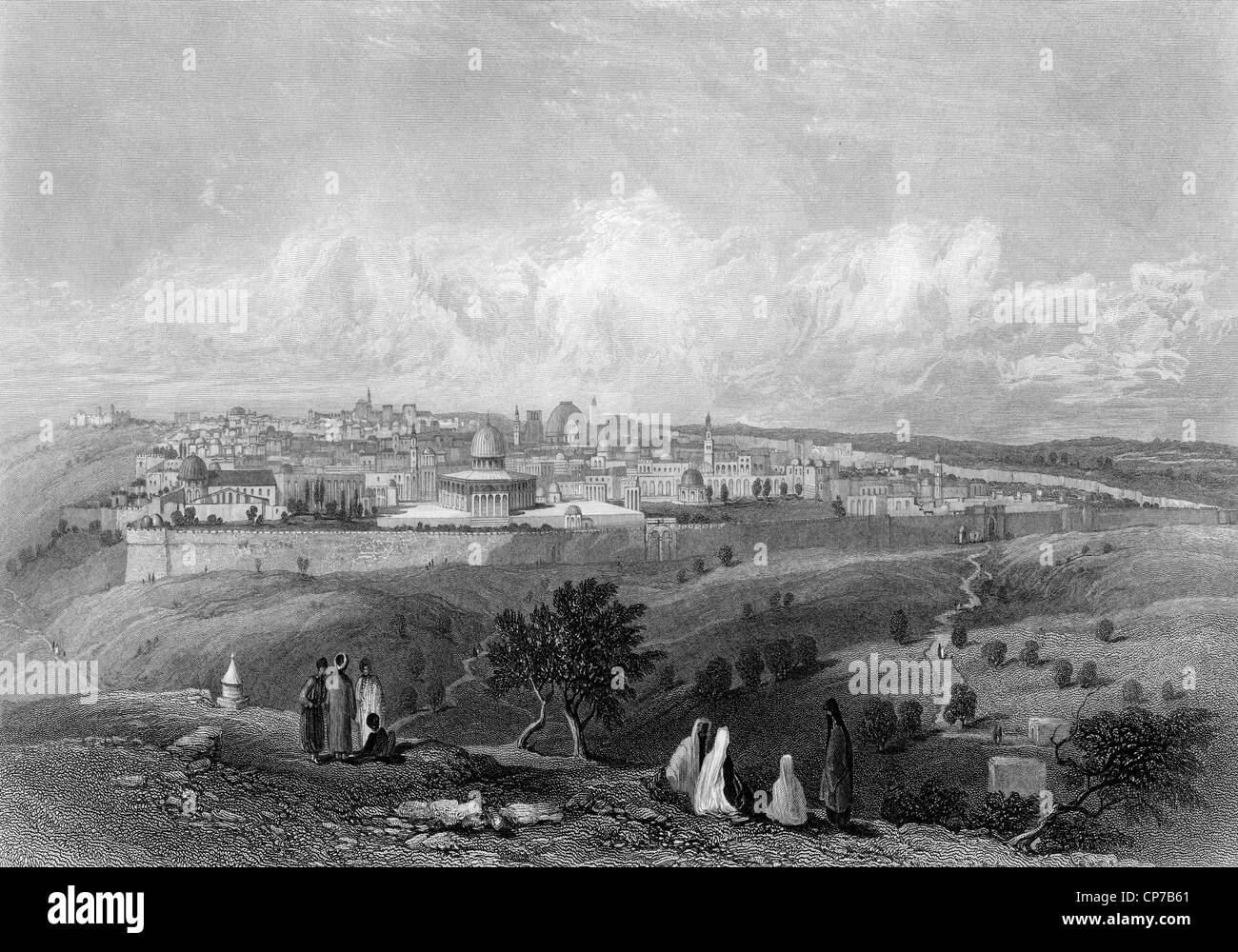 City of Jerusalem viewed from top of Mount of Olives in biblical times, Engraved, by William Miller in 1866. - Stock Image