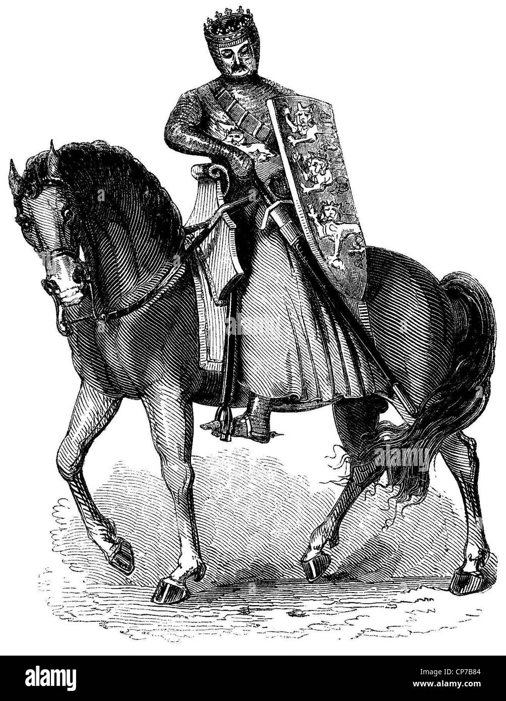 Engraving of King Edward I of England mounted on horse with chain mail armor. - Stock Image