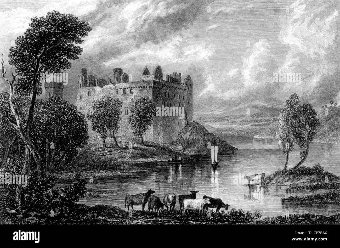 Engraving of Linlithgow Castle, West Lothian, Scotland. - Stock Image
