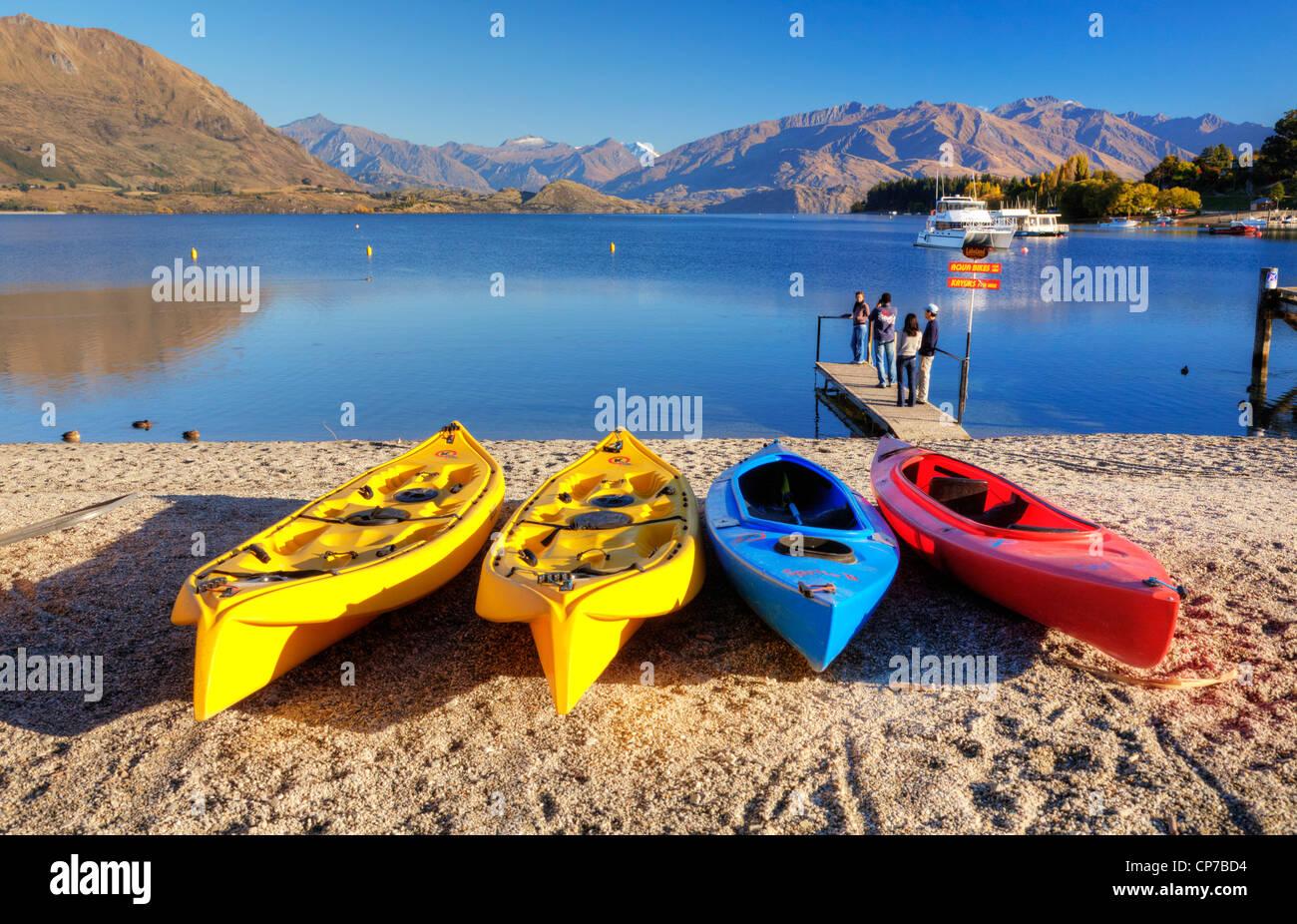 Kayaks for hire at Lake Wanaka, Otago, New Zealand. - Stock Image