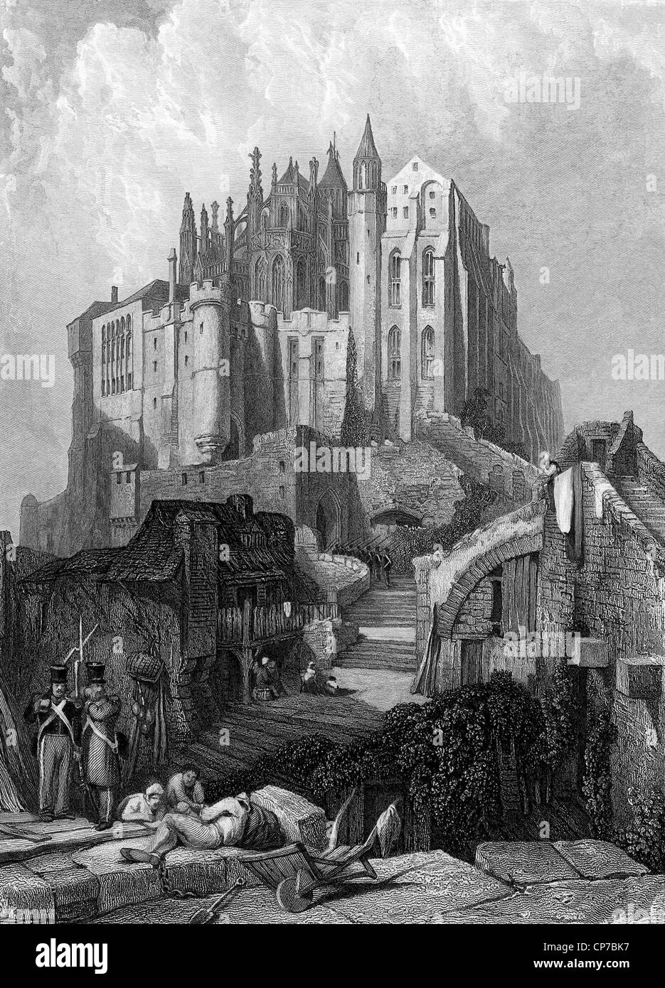 Scenic view of Mont Saint-Michel, Normandy, France. Engraved by William Miller in 1834. - Stock Image