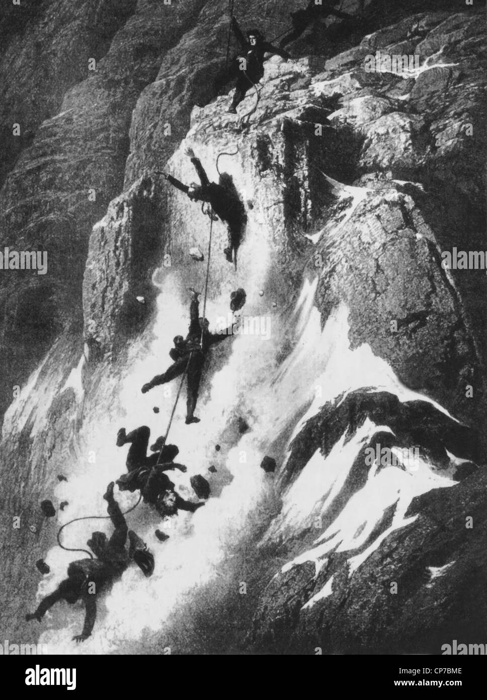 Disaster strikes just after the first ascent of the Matterhorn, drawn by artist Gustave Doré in 1865. - Stock Image