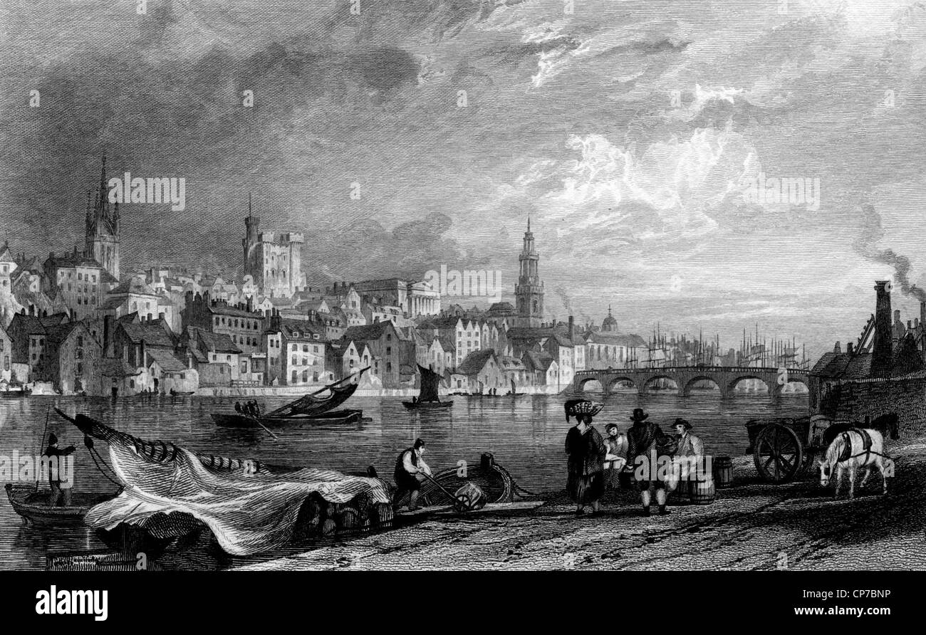 Newcastle-Upon-Tyne city viewed from New Chatham, Gateshead, England. Engraved by William Miller in 1832. - Stock Image
